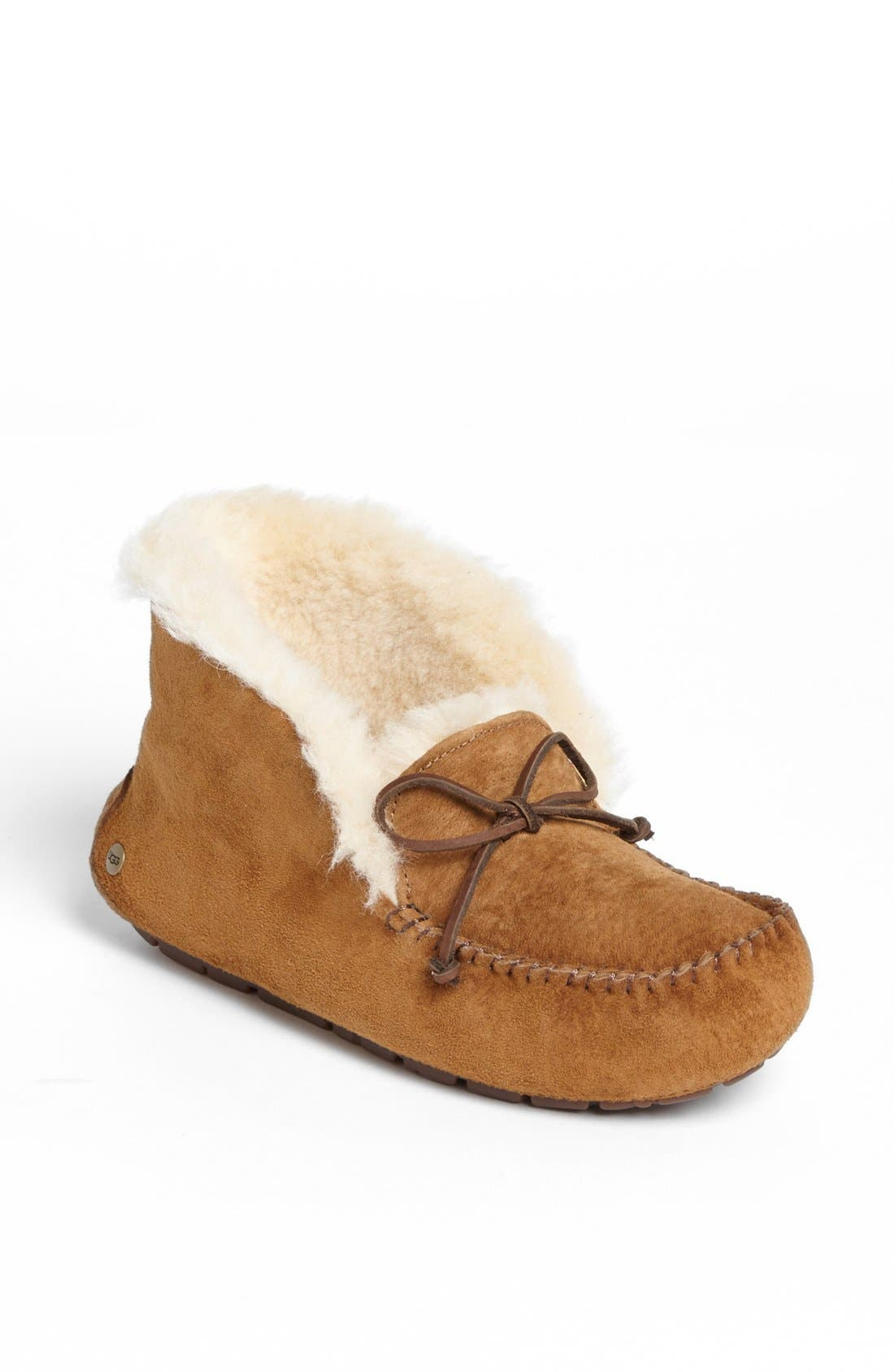 UGG<SUP>®</SUP>, UGGpure<sup>™</sup> Alena Suede Slipper Bootie, Main thumbnail 1, color, CHESTNUT
