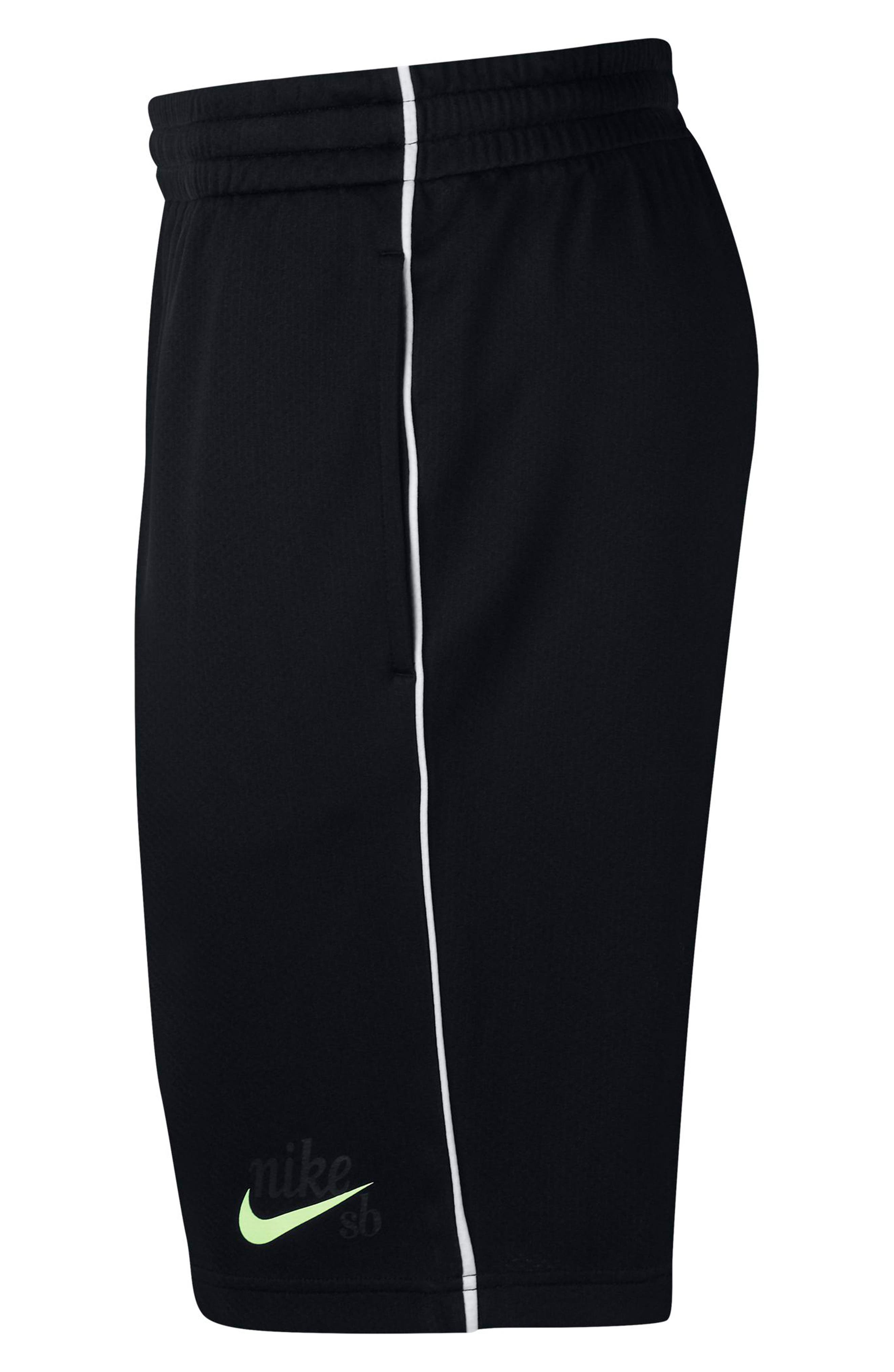 NIKE SB, Dry Sunday Morning Shorts, Alternate thumbnail 9, color, BLACK/ WHITE/ BARELY VOLT