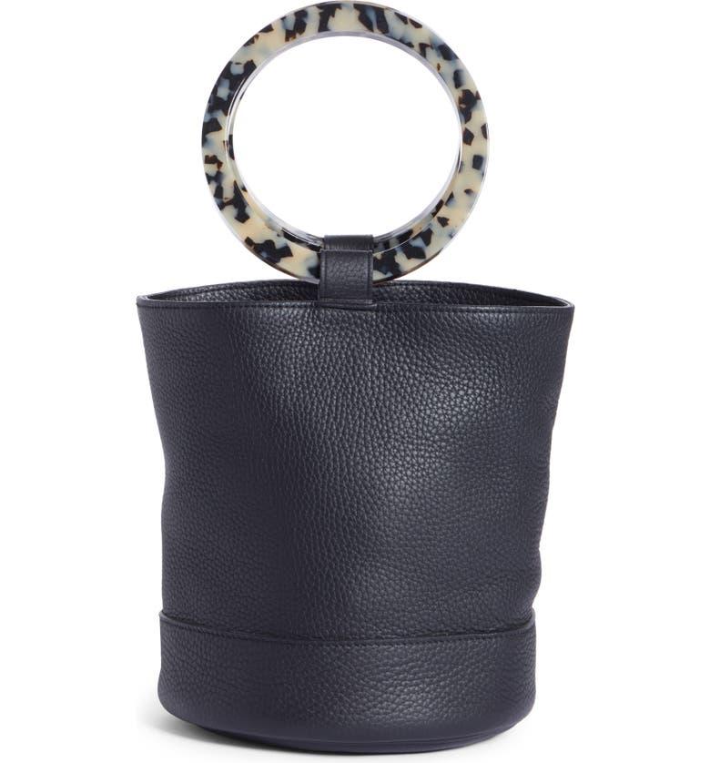 Simon Miller Bags BONSAI 20 PEBBLED LEATHER BUCKET BAG - BLACK