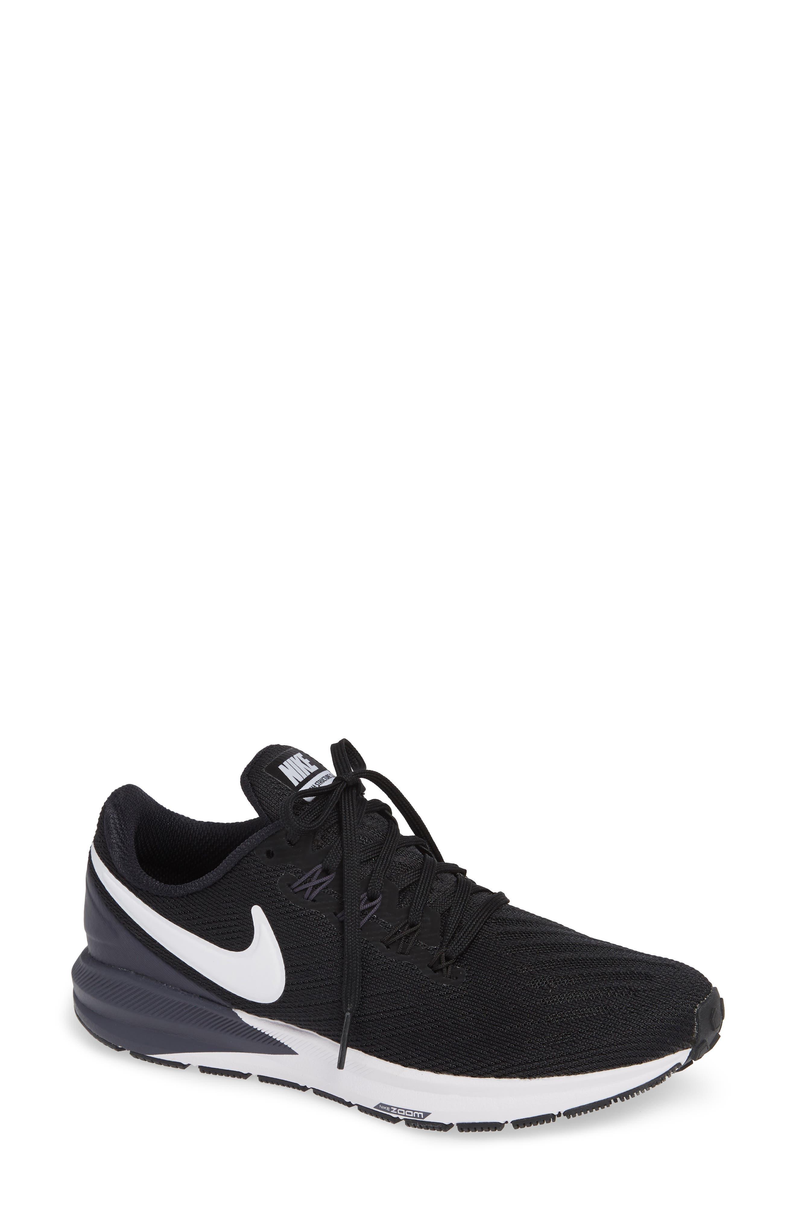 NIKE, Air Zoom Structure 22 Sneaker, Main thumbnail 1, color, BLACK/ WHITE-GRIDIRON