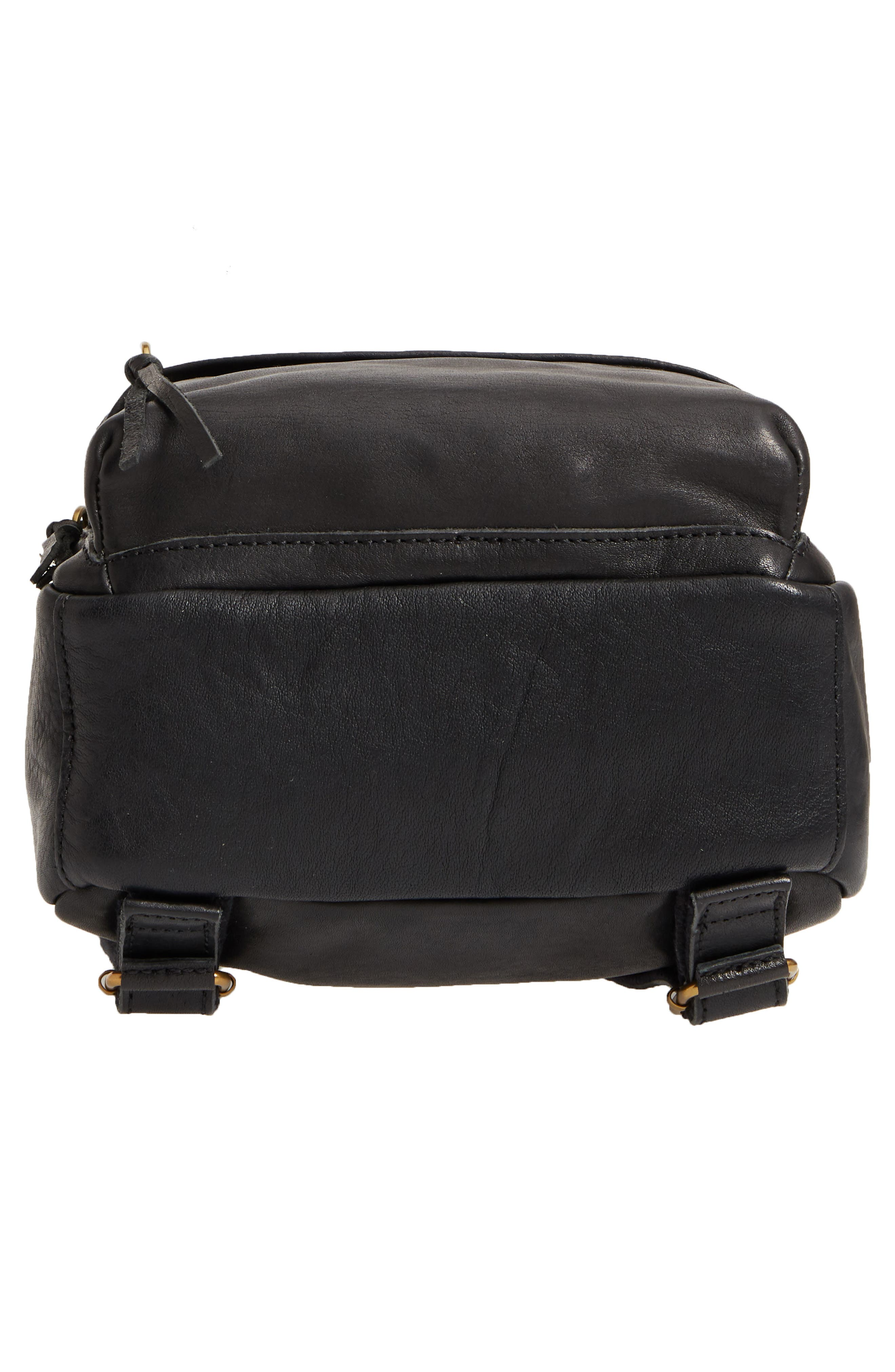 MADEWELL, Mini Lorimer Leather Backpack, Alternate thumbnail 7, color, TRUE BLACK