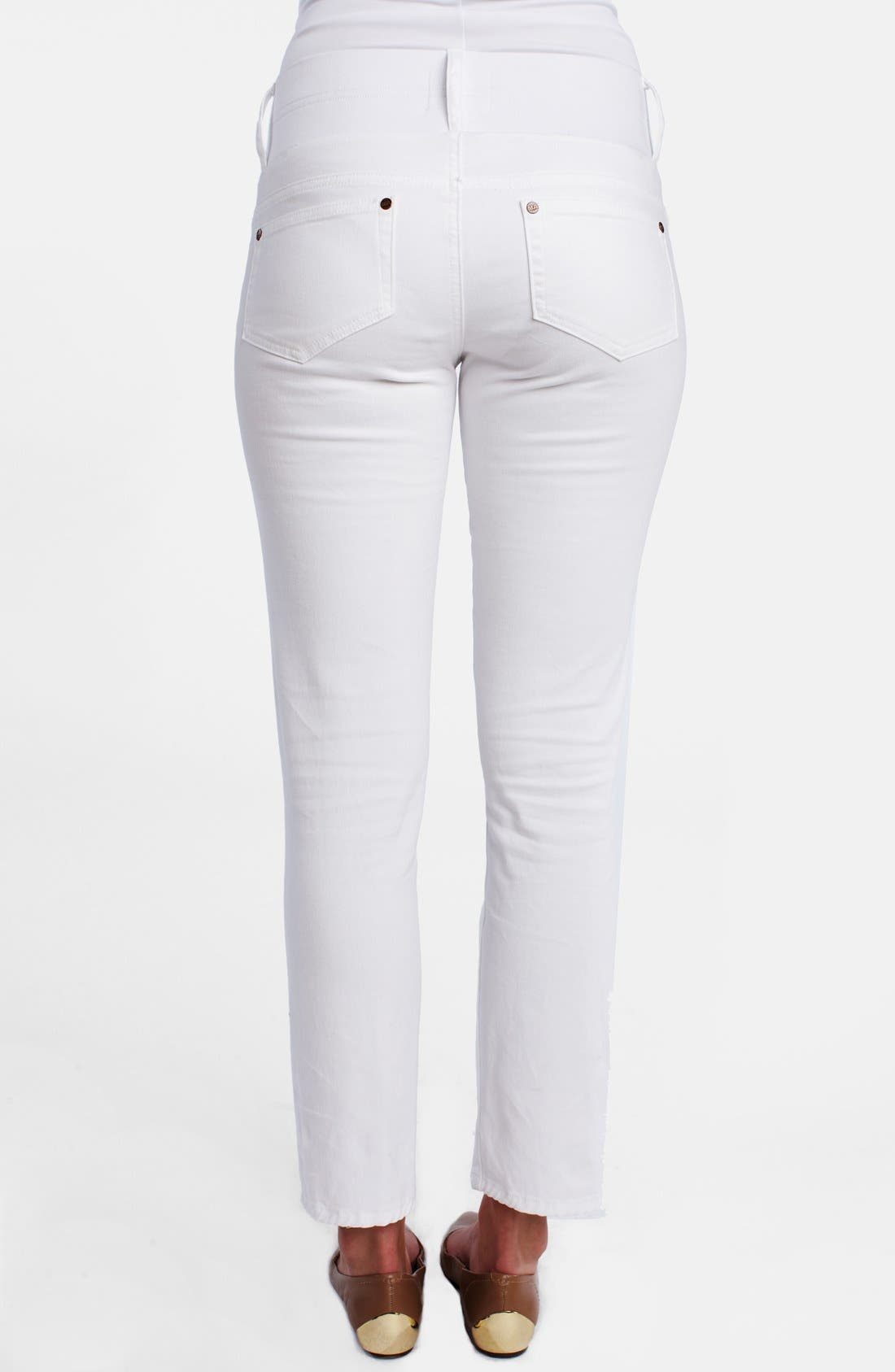 MATERNAL AMERICA, Maternity Skinny Ankle Stretch Jeans, Alternate thumbnail 6, color, 100