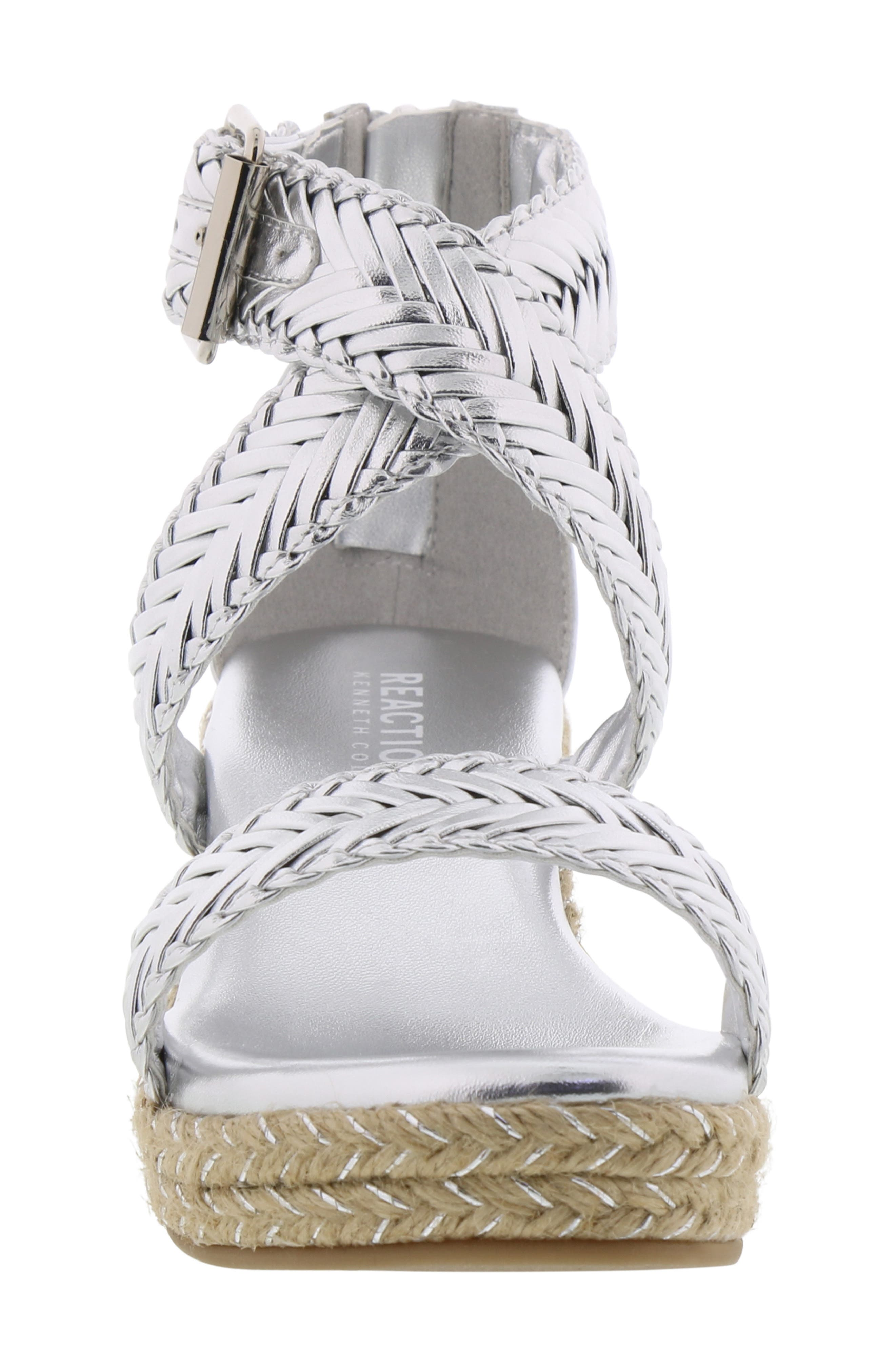 REACTION KENNETH COLE, Reed Sway Metallic Wedge Sandal, Alternate thumbnail 4, color, SILVER