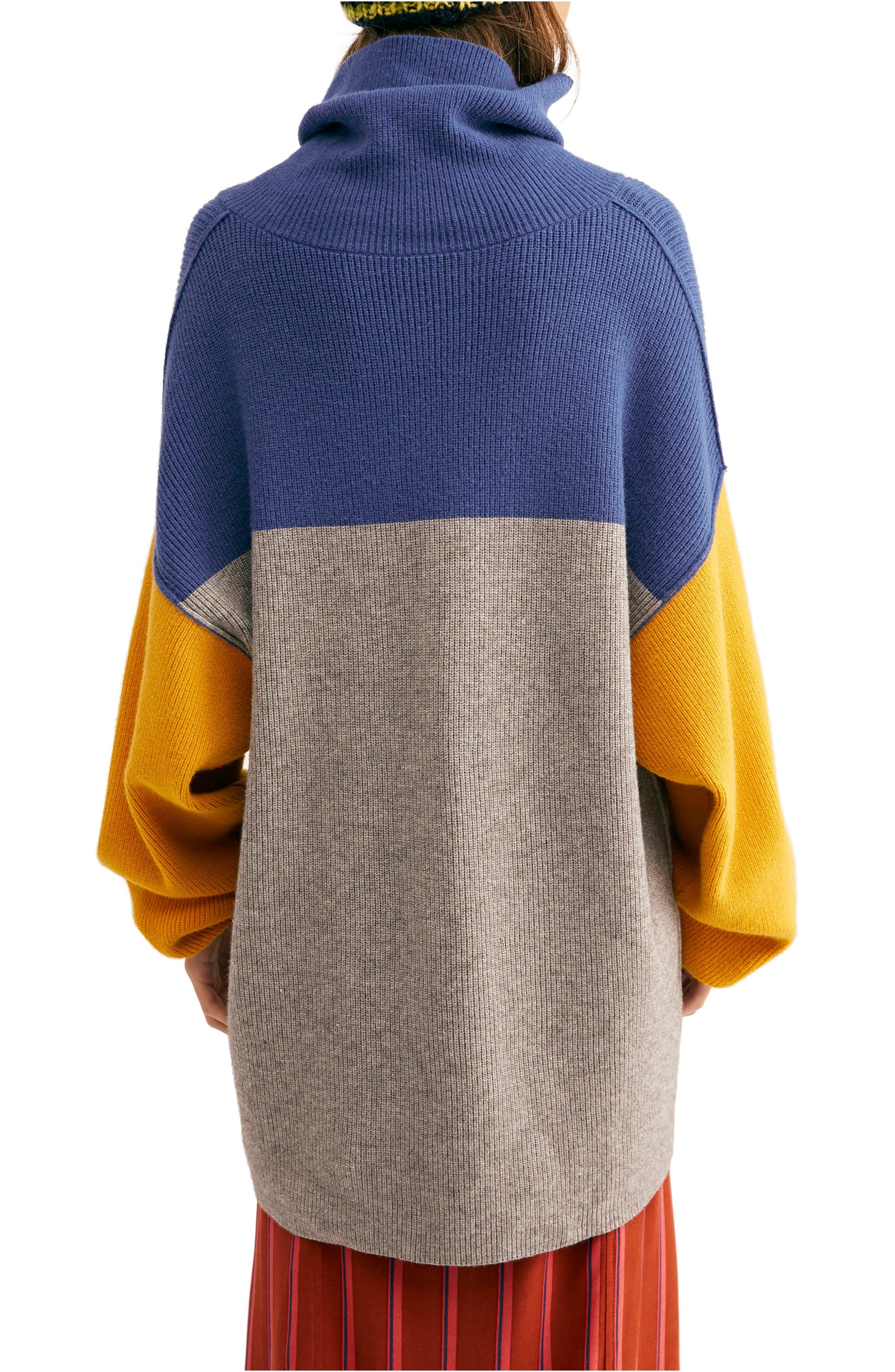 FREE PEOPLE, Colorblock Turtleneck Sweater, Alternate thumbnail 2, color, 400