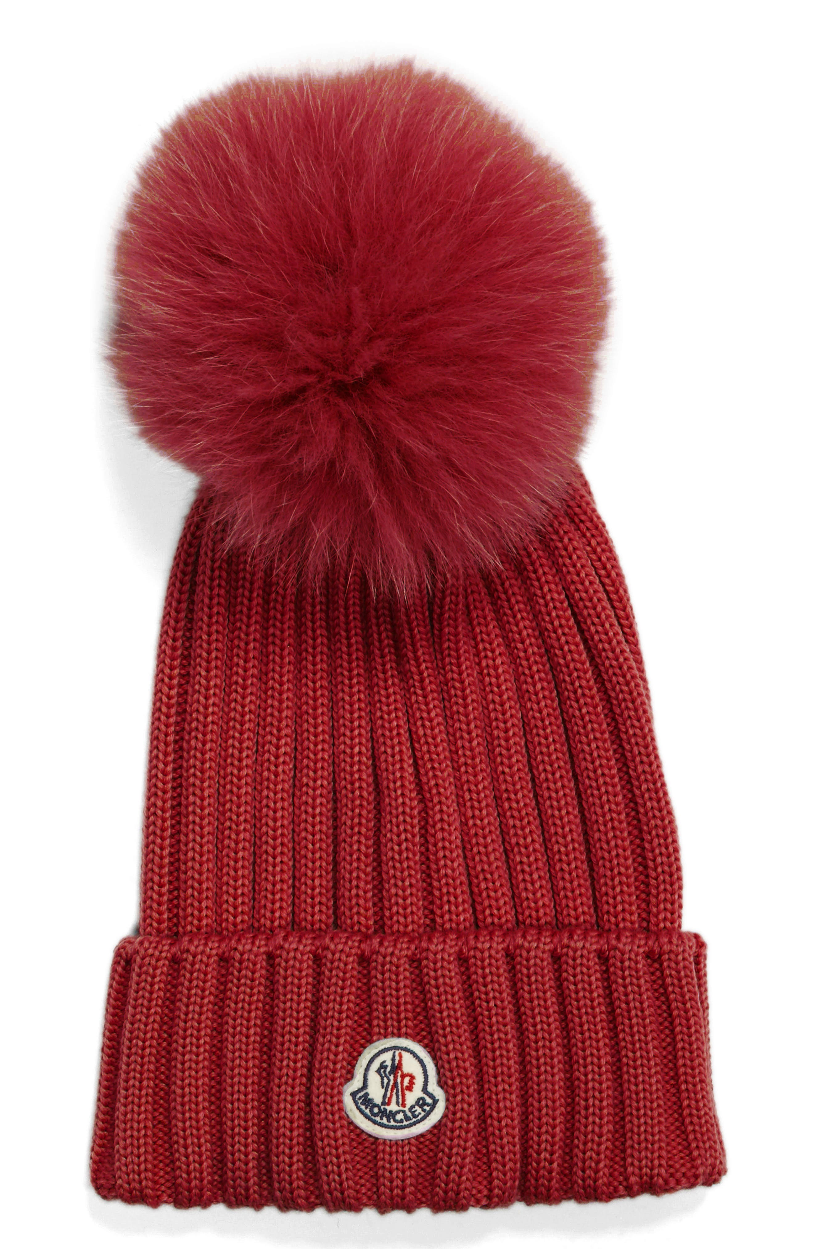 Moncler Genuine Fox Fur Pom Wool Beanie - Red