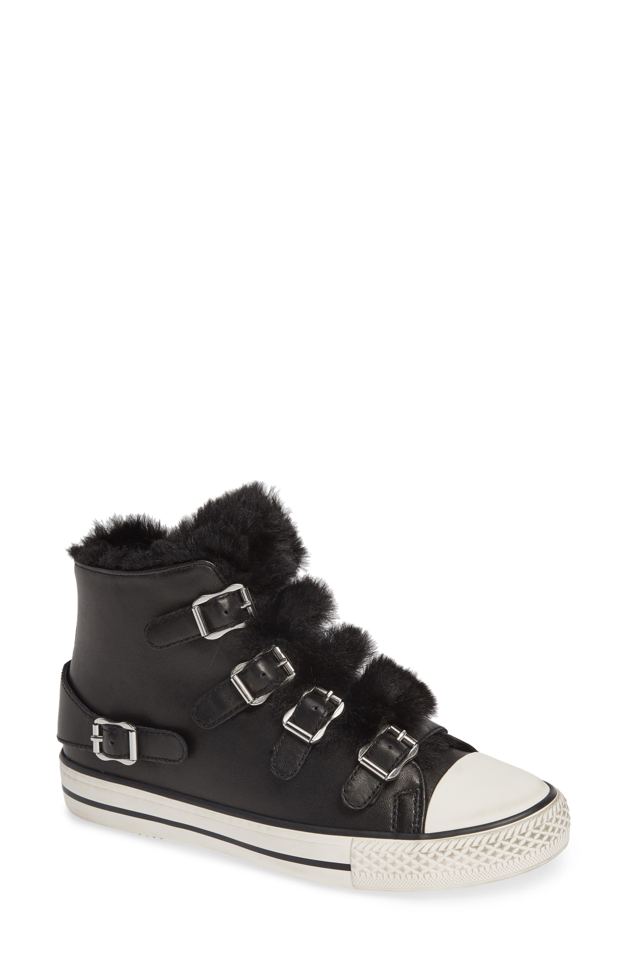 ASH, Valko High Top Sneaker, Main thumbnail 1, color, BLACK/ BLACK FAUX FUR