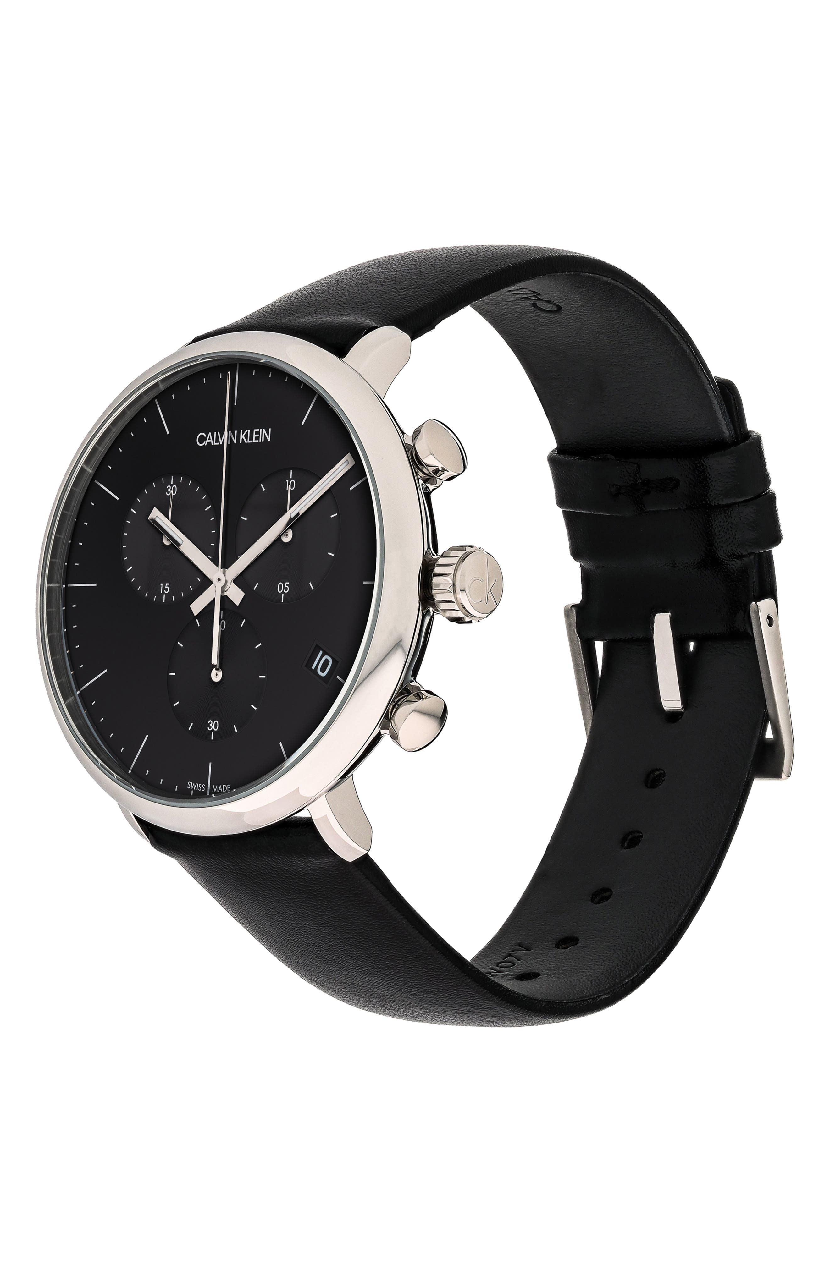 CALVIN KLEIN, High Noon Chronograph Leather Strap Watch, 43mm, Alternate thumbnail 4, color, BLACK/ SILVER/ BLACK