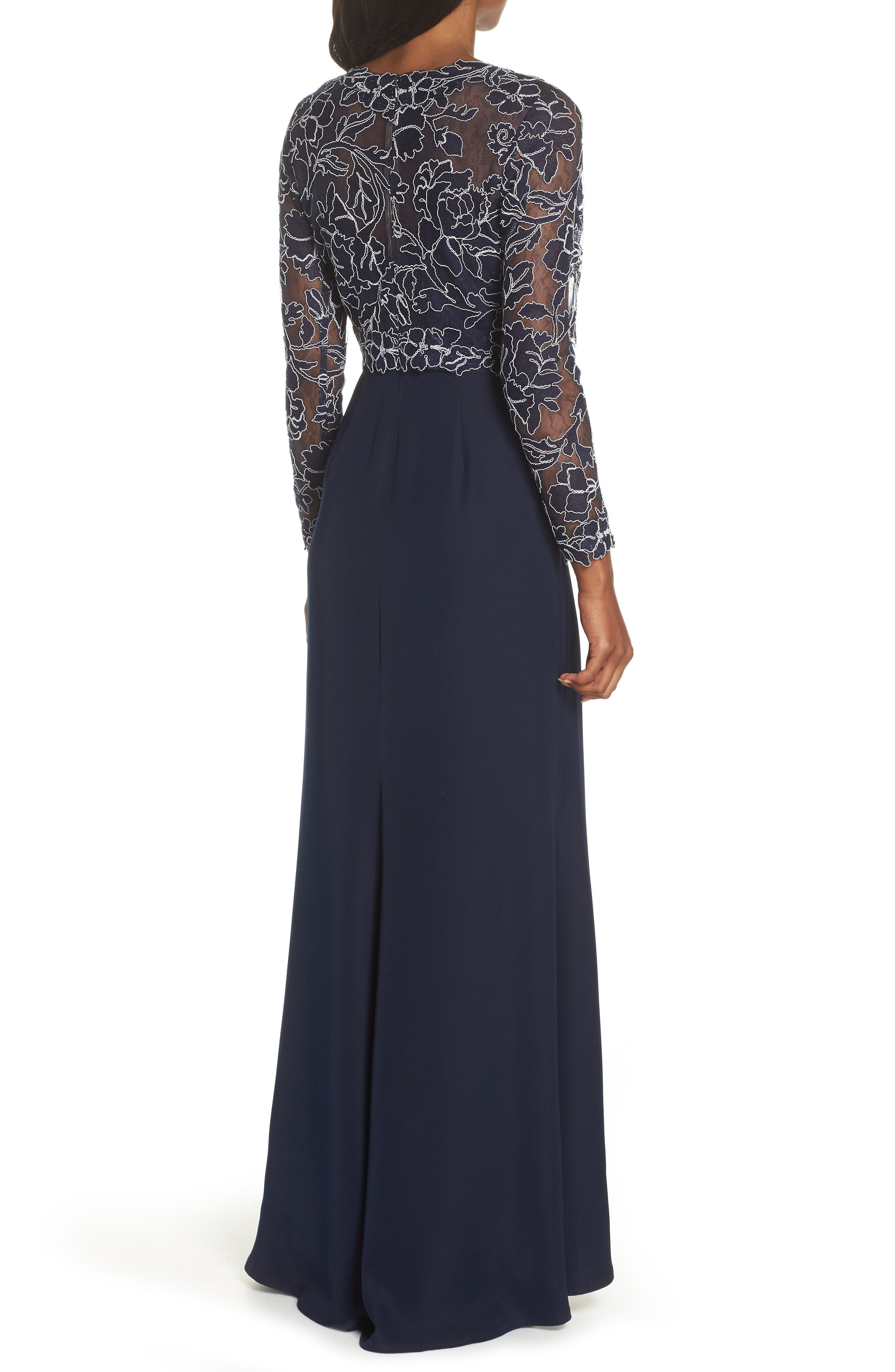 TADASHI SHOJI, Crepe & Embroidered Lace Gown, Alternate thumbnail 2, color, NAVY/ IVORY