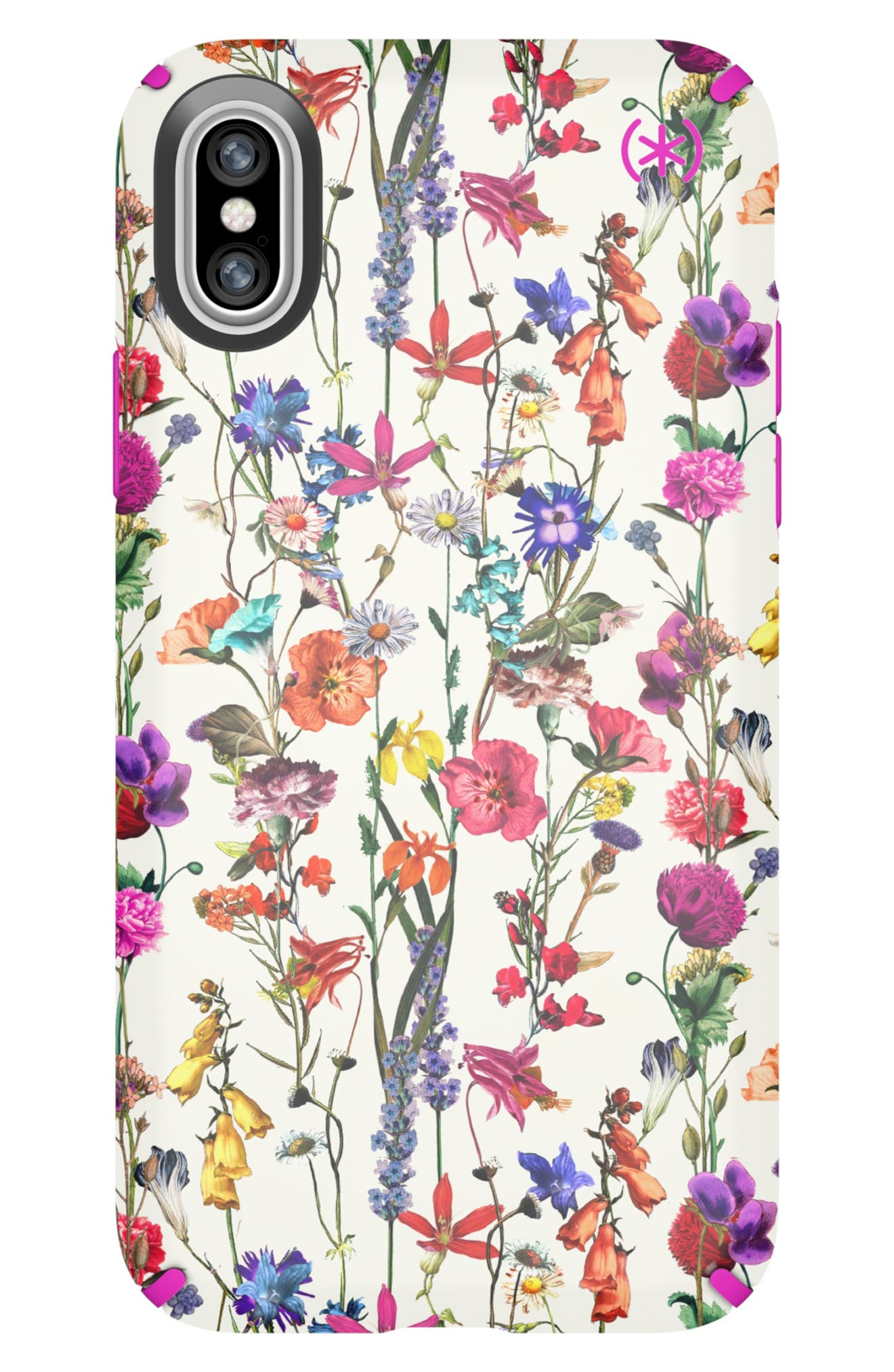 SPECK, Presidio Inked iPhone X & Xs Case, Main thumbnail 1, color, WHITEFLOWERS/ LIPSTICK PINK