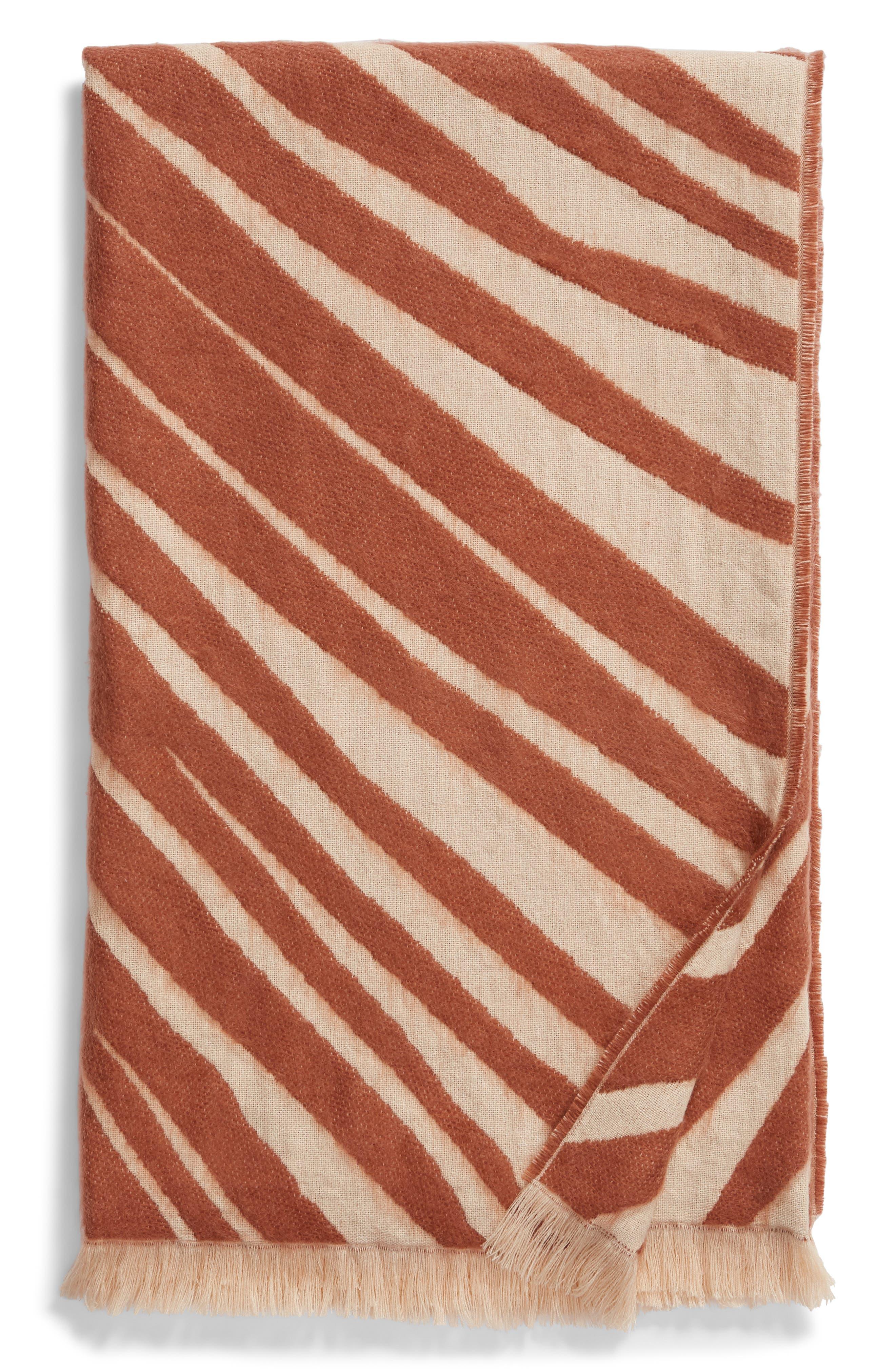 TREASURE & BOND Palm Leaf Jacquard Throw Blanket, Main, color, BEIGE DUNE MULTI