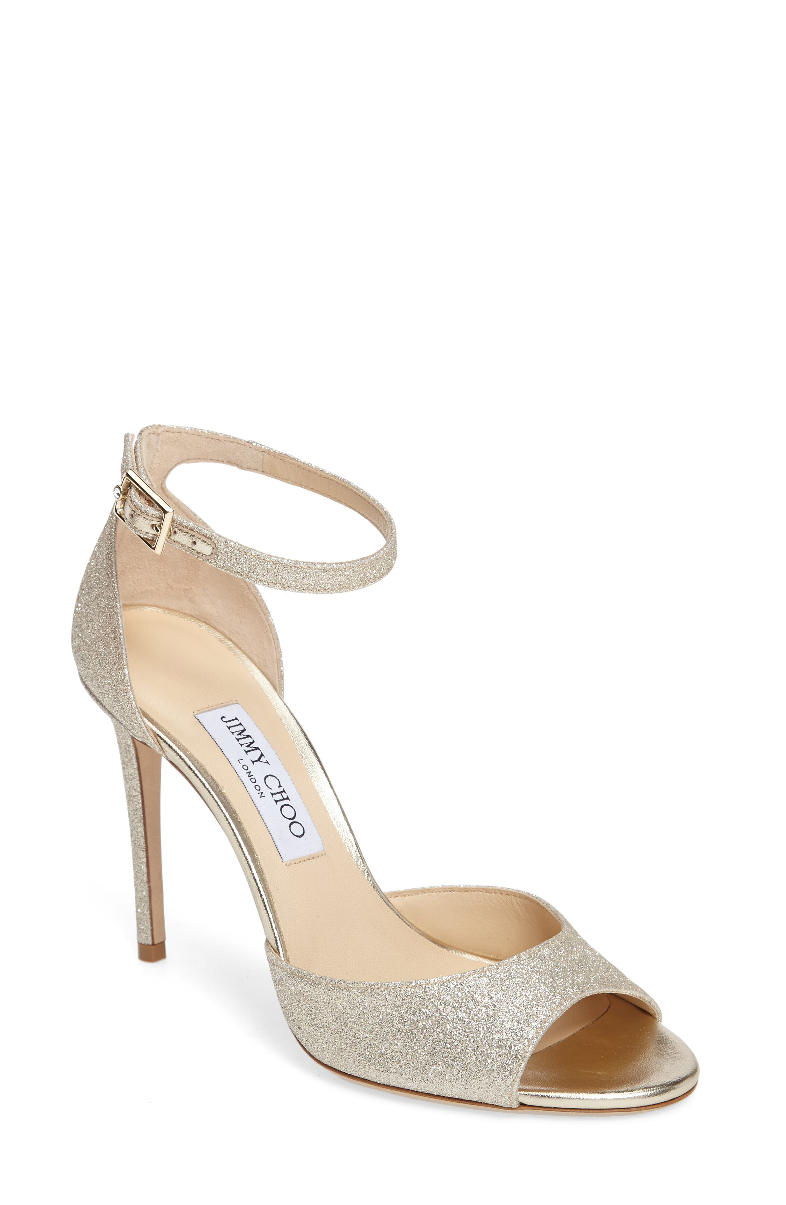 JIMMY CHOO Annie Ankle Strap Sandal, Main, color, PLATINUM