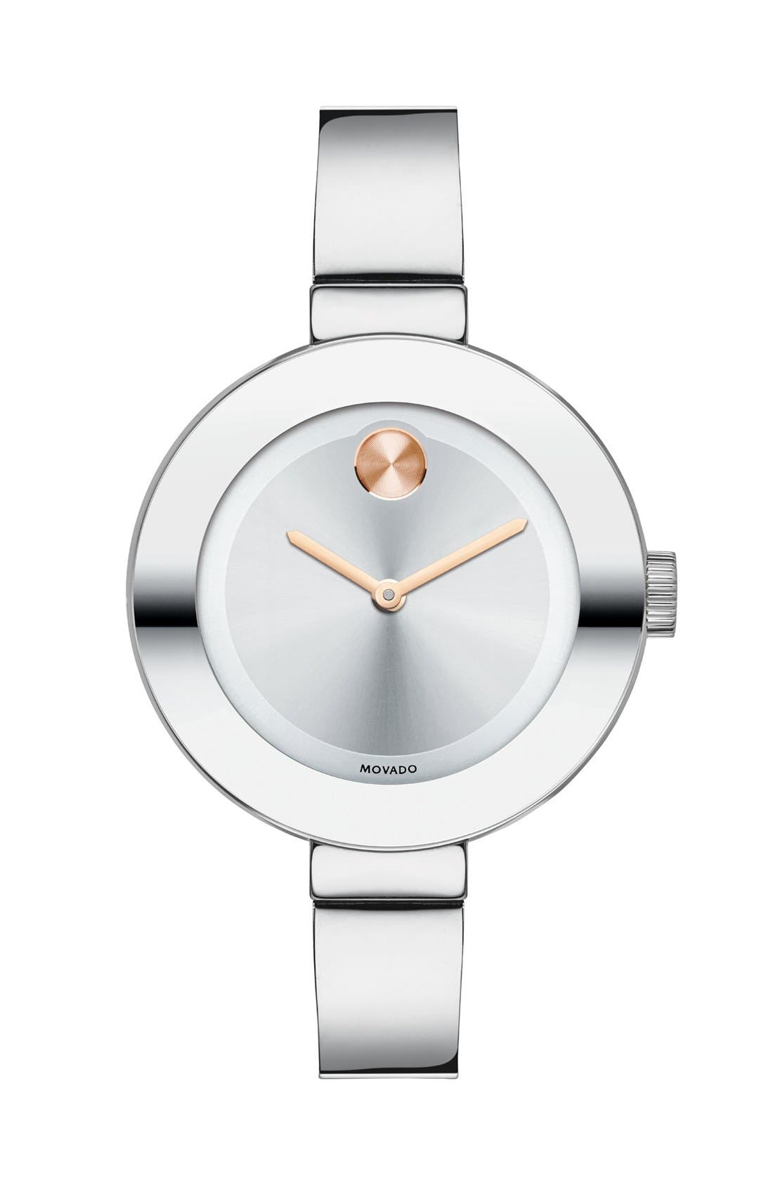 MOVADO 'Bold' Bangle Watch, 34mm, Main, color, SILVER/ ROSE GOLD