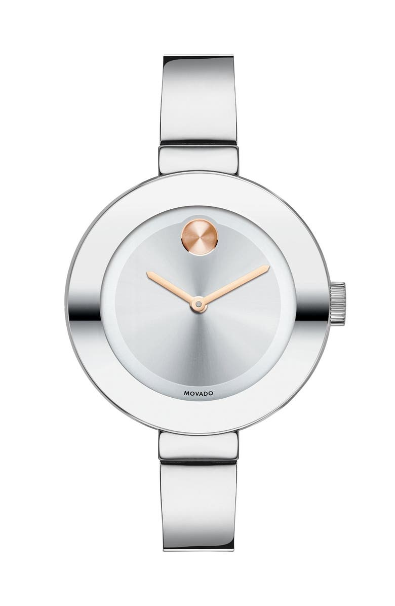 Movado Bold Stainless Steel Bangle Bracelet Watch/34Mm In Silver/ Rose Gold