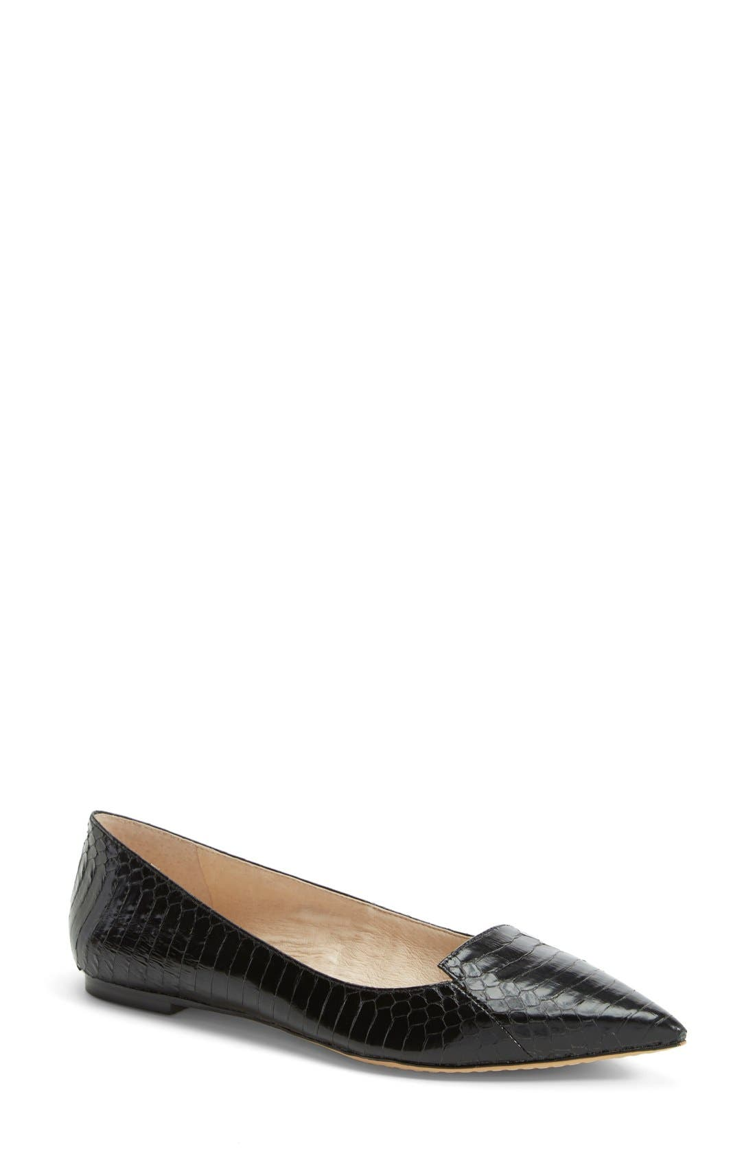 VINCE CAMUTO, 'Empa' Pointy Toe Loafer Flat, Main thumbnail 1, color, 001