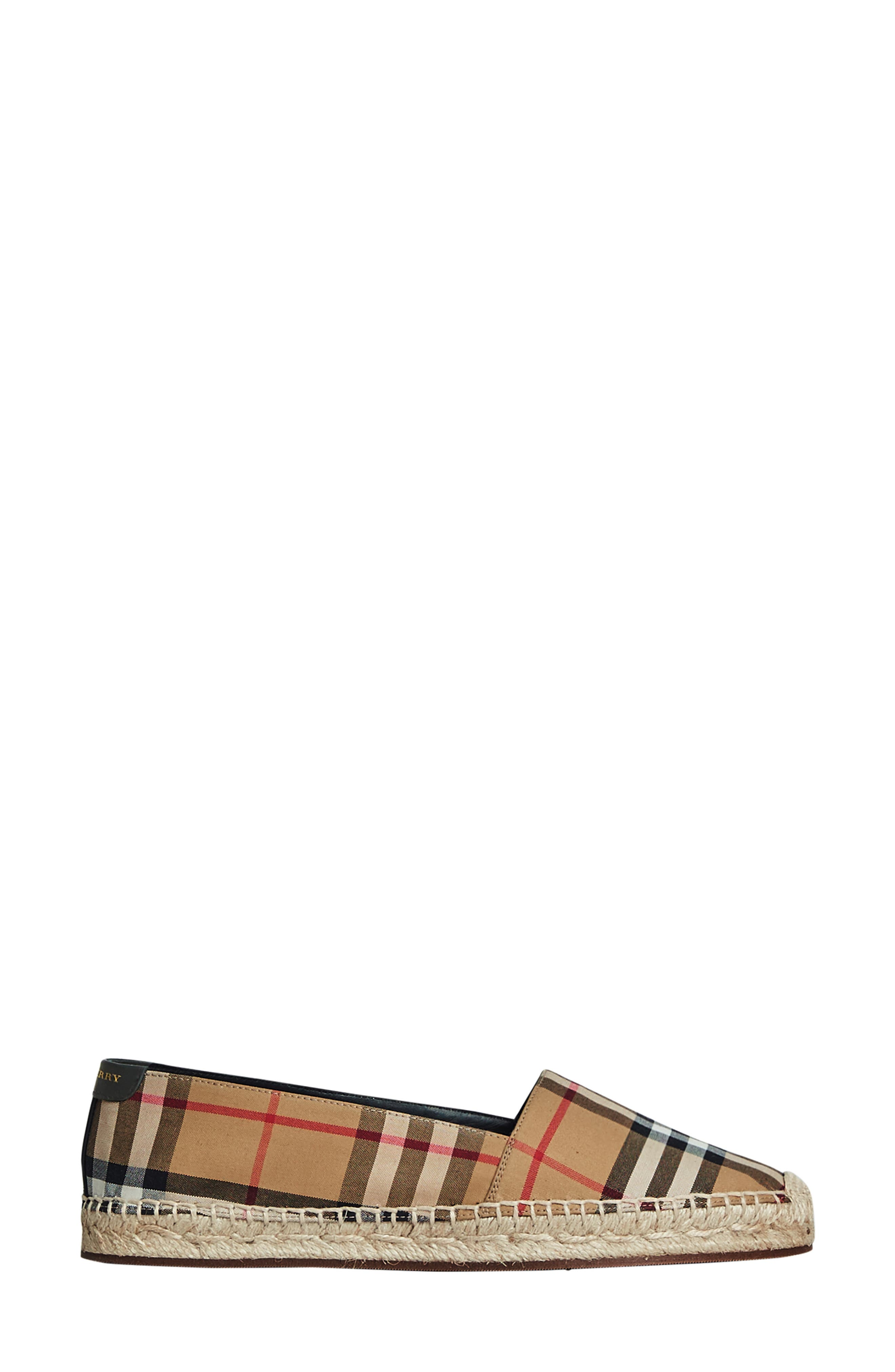 BURBERRY, Hodgeson Check Print Espadrille Flat, Alternate thumbnail 4, color, ANTIQUE YELLOW