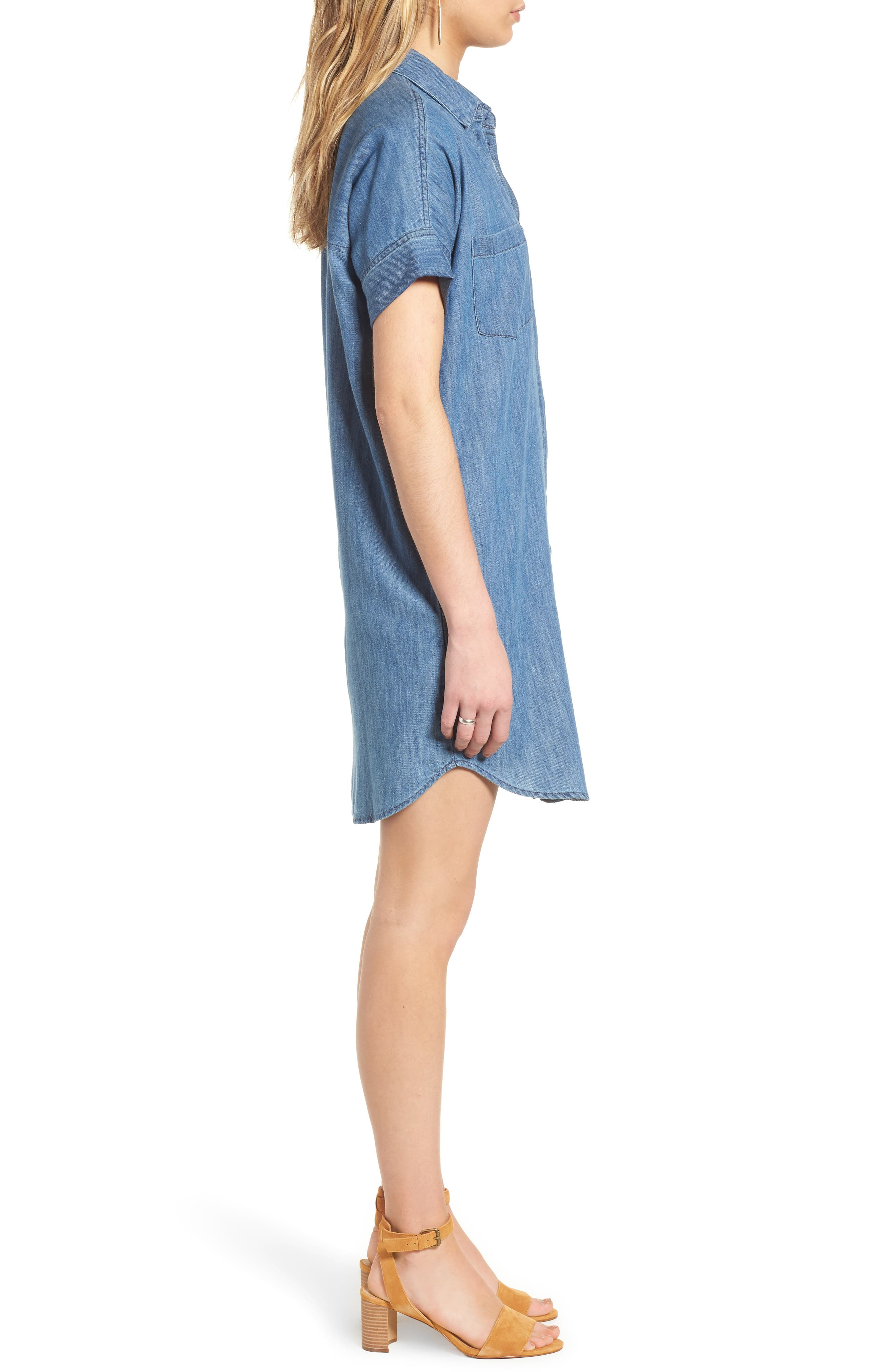 MADEWELL, Courier Denim Shirtdress, Alternate thumbnail 3, color, 400
