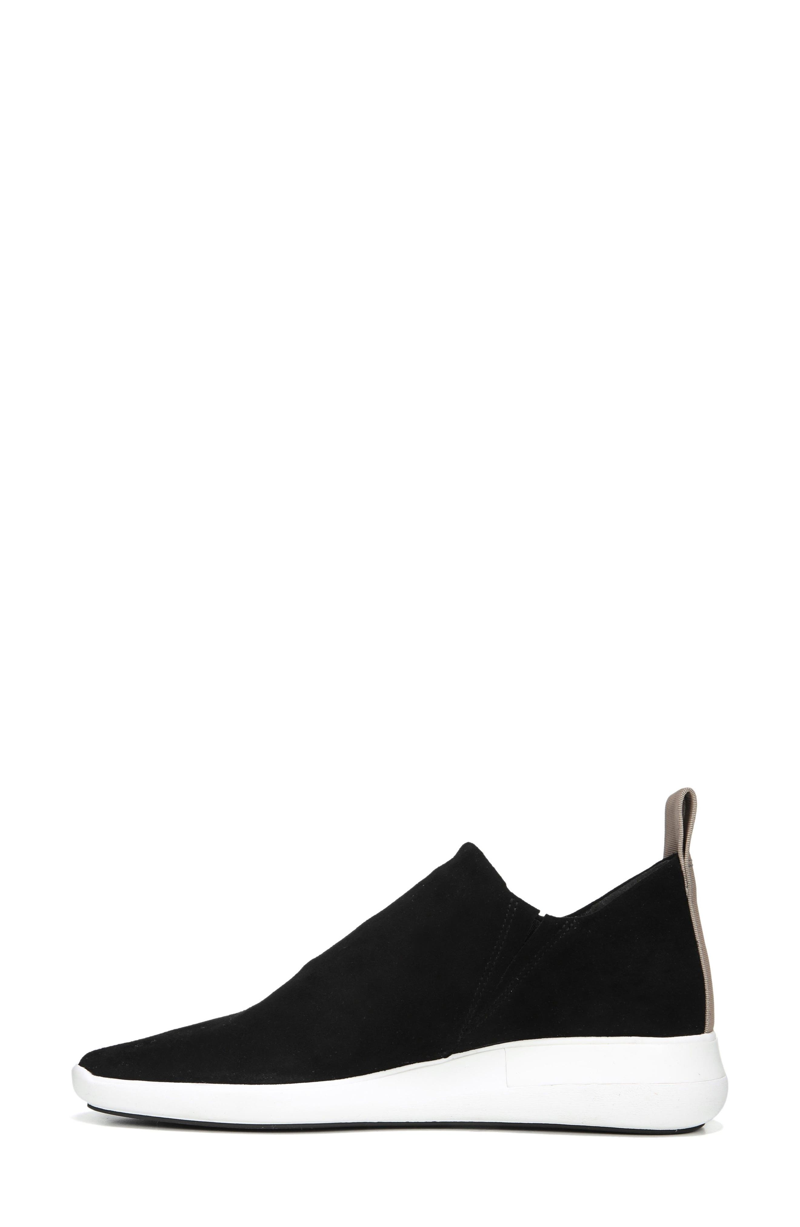 VIA SPIGA, Marlow Slip-On Sneaker, Alternate thumbnail 3, color, BLACK SUEDE