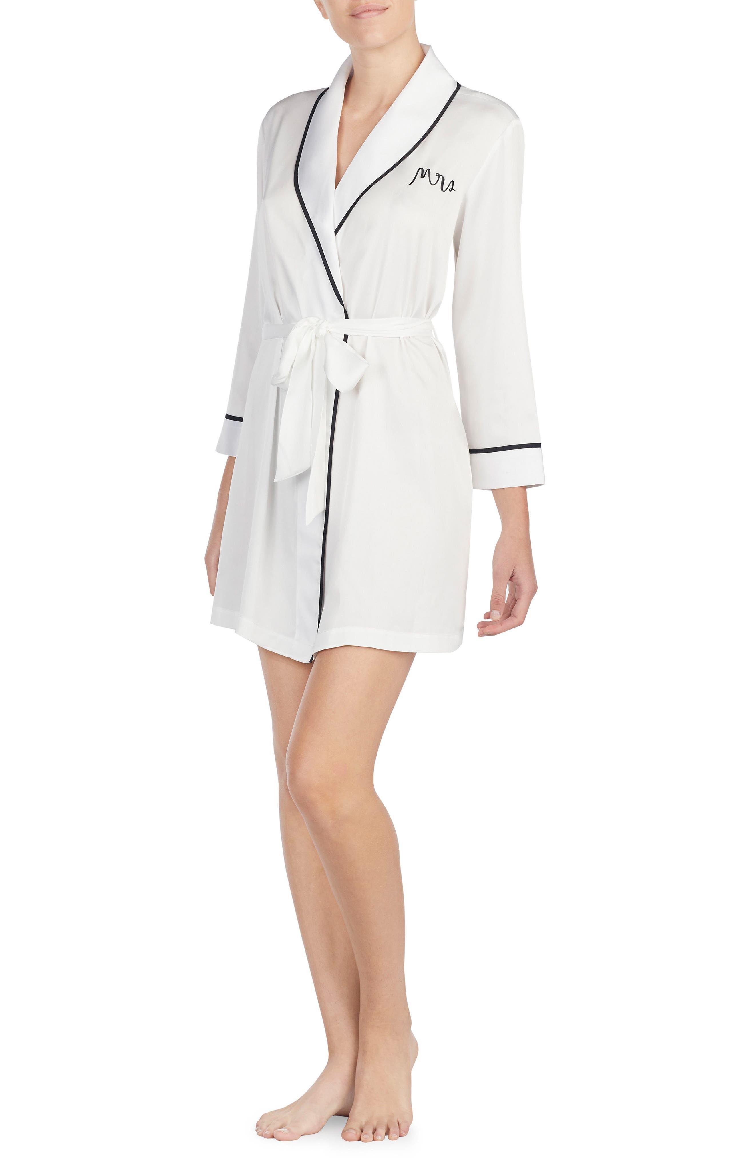 KATE SPADE NEW YORK mrs charmeuse short robe, Main, color, OFF WHITE