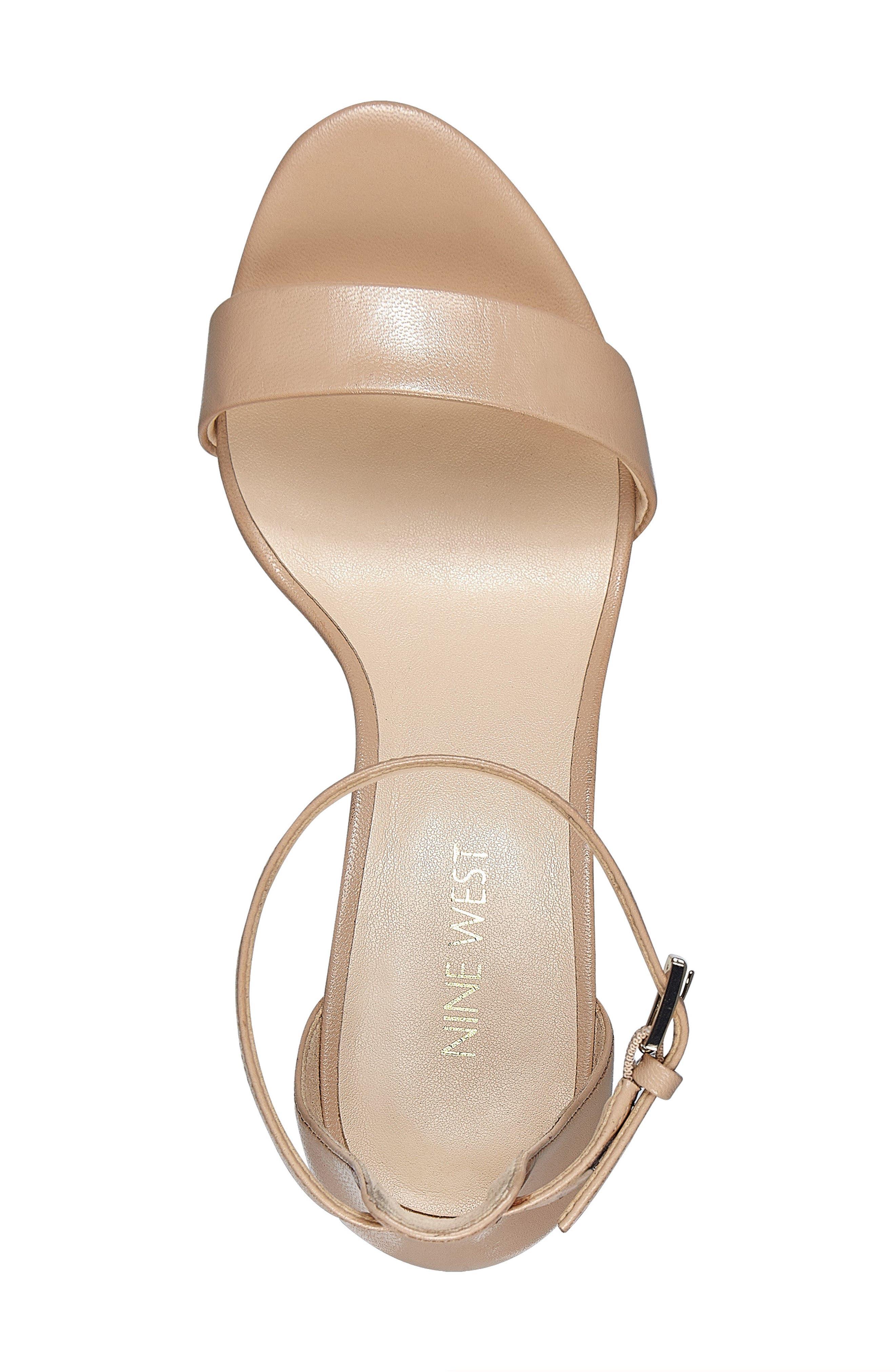 NINE WEST, Pruce Ankle Strap Sandal, Alternate thumbnail 5, color, LIGHT NATURAL LEATHER