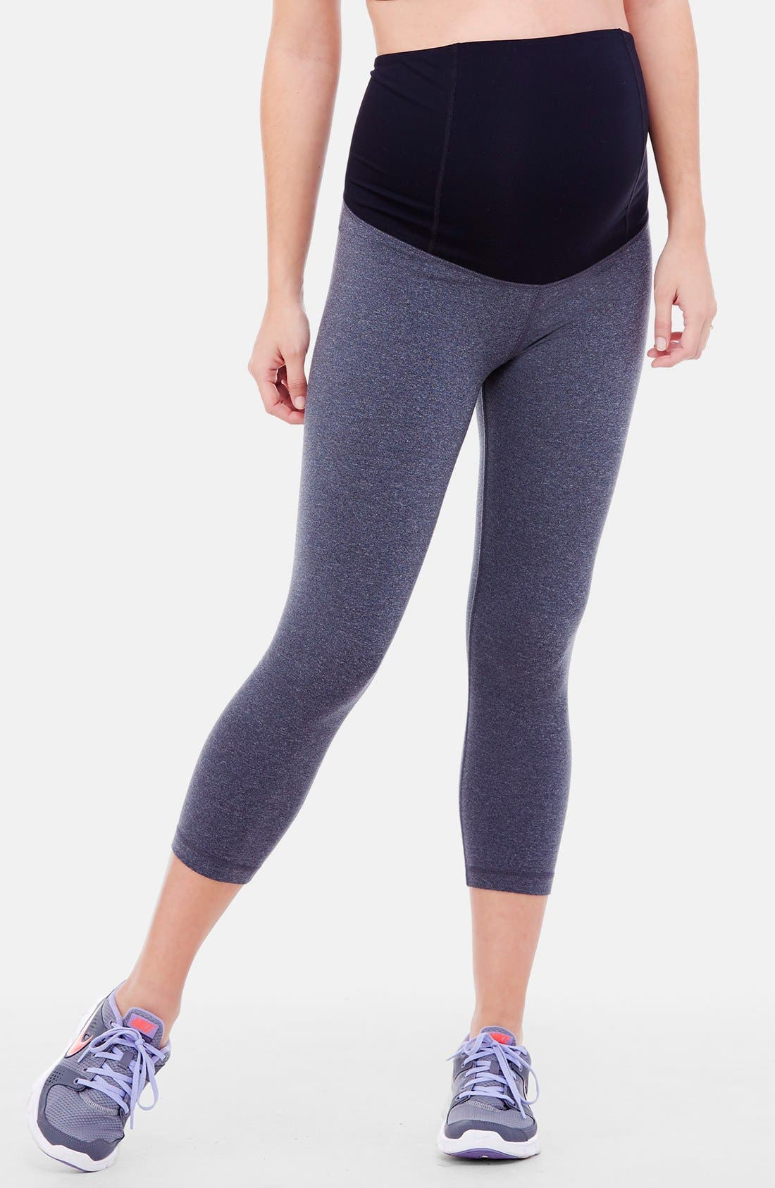 INGRID & ISABEL<SUP>®</SUP>, Active Maternity Capri Pants with Crossover Panel, Main thumbnail 1, color, DARK HEATHER GREY