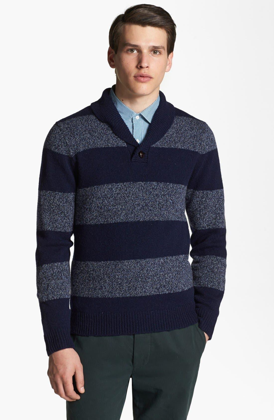 SHIPLEY & HALMOS, 'Earnest' Stripe Wool Shawl Collar Sweater, Main thumbnail 1, color, 415