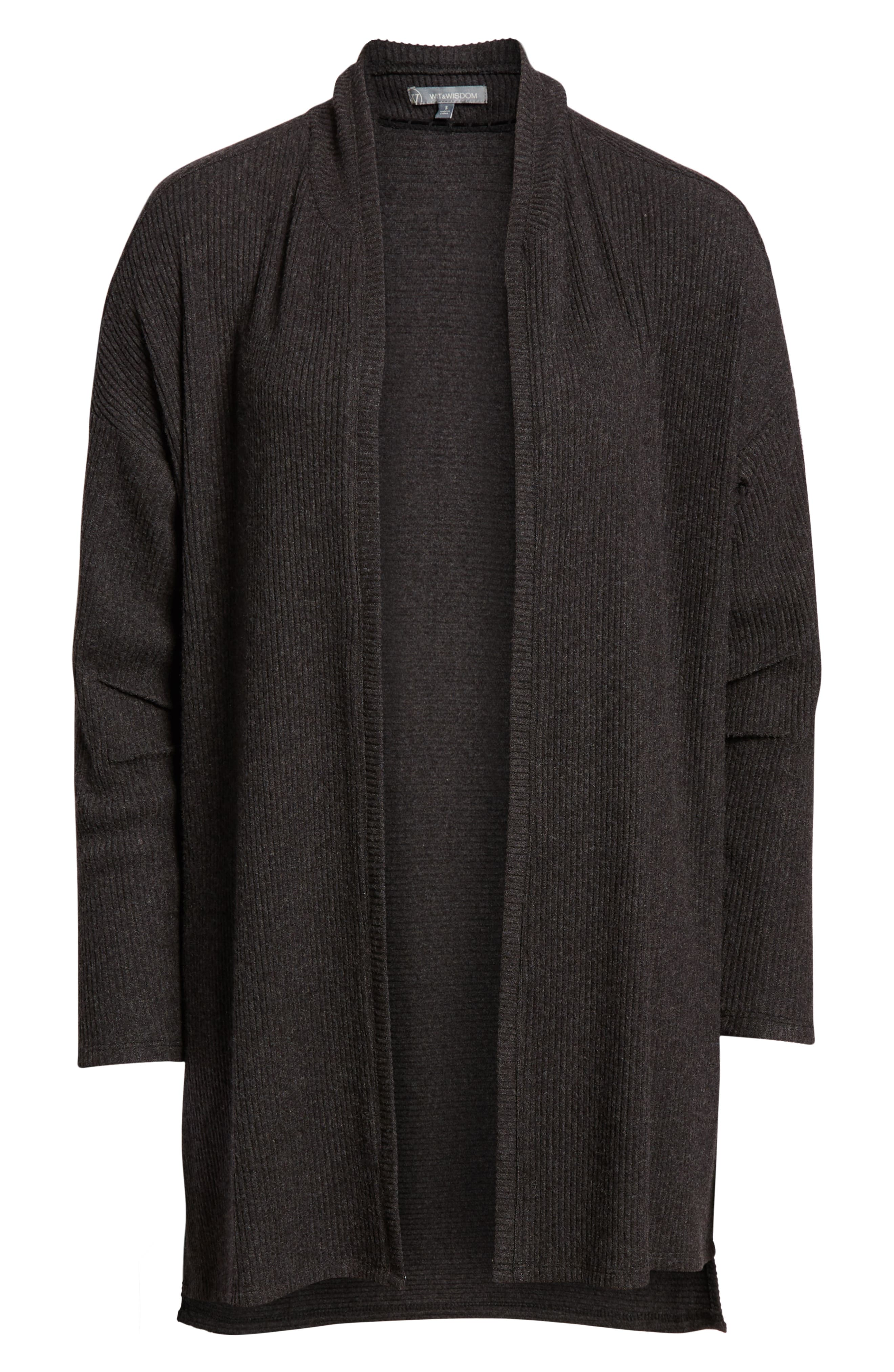 WIT & WISDOM, Ribbed Open Cardigan, Alternate thumbnail 6, color, CHARCOAL