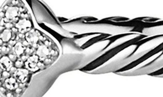 DAVID YURMAN, 'Cable Collectibles - Quatrefoil' Ring with Diamonds, Alternate thumbnail 3, color, DIAMOND