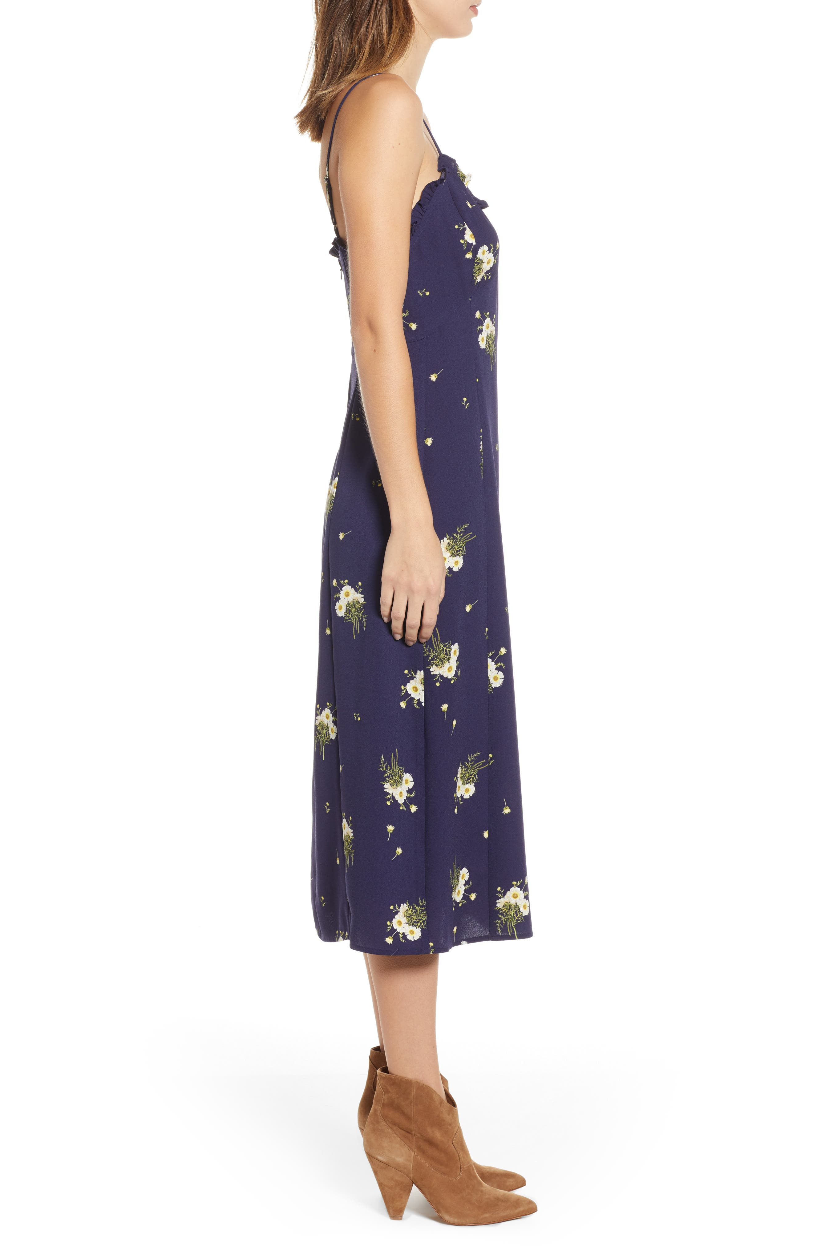 BP., Ruffle Trim Floral Print Midi Dress, Alternate thumbnail 5, color, NAVY EVENING DAISY