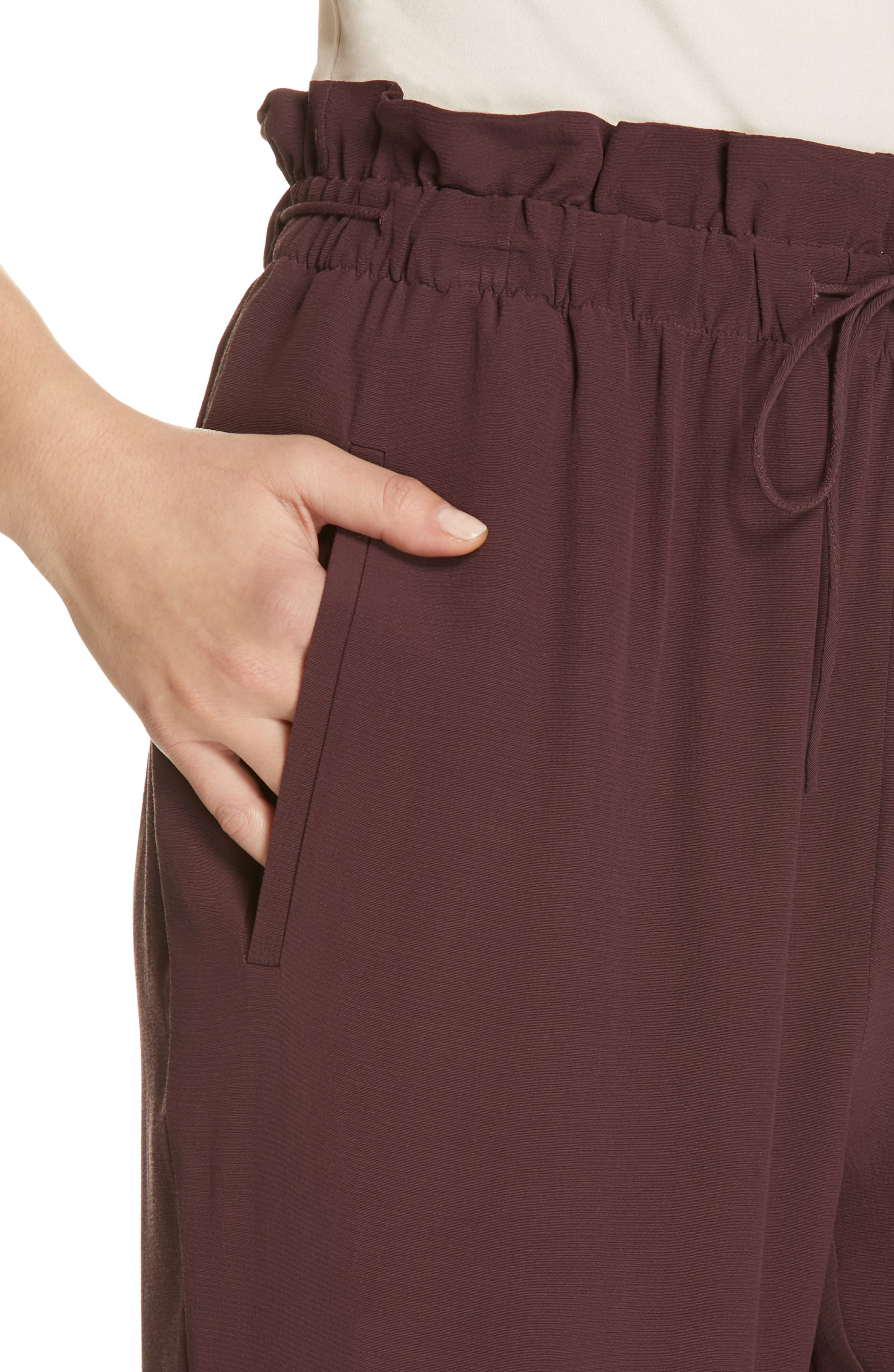EILEEN FISHER, Crepe Pants, Alternate thumbnail 5, color, CASSIS