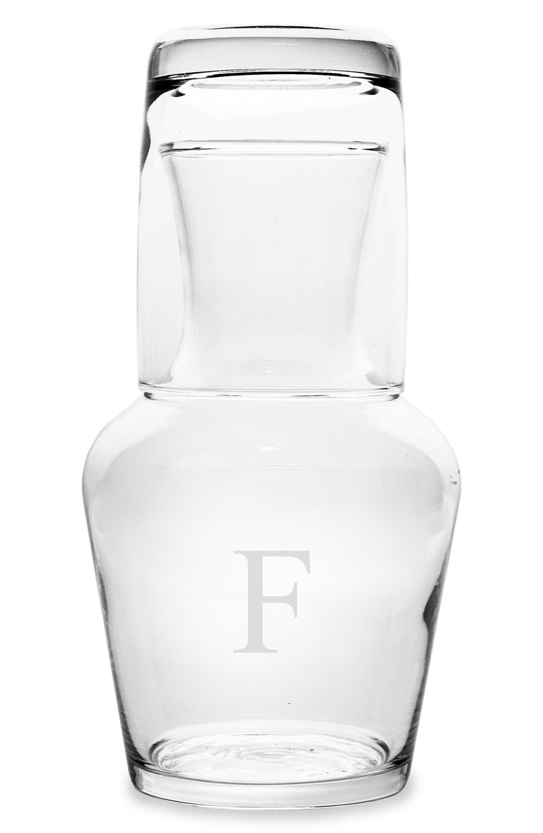 CATHY'S CONCEPTS, Monogram Bedside Water Carafe Set, Main thumbnail 1, color, F
