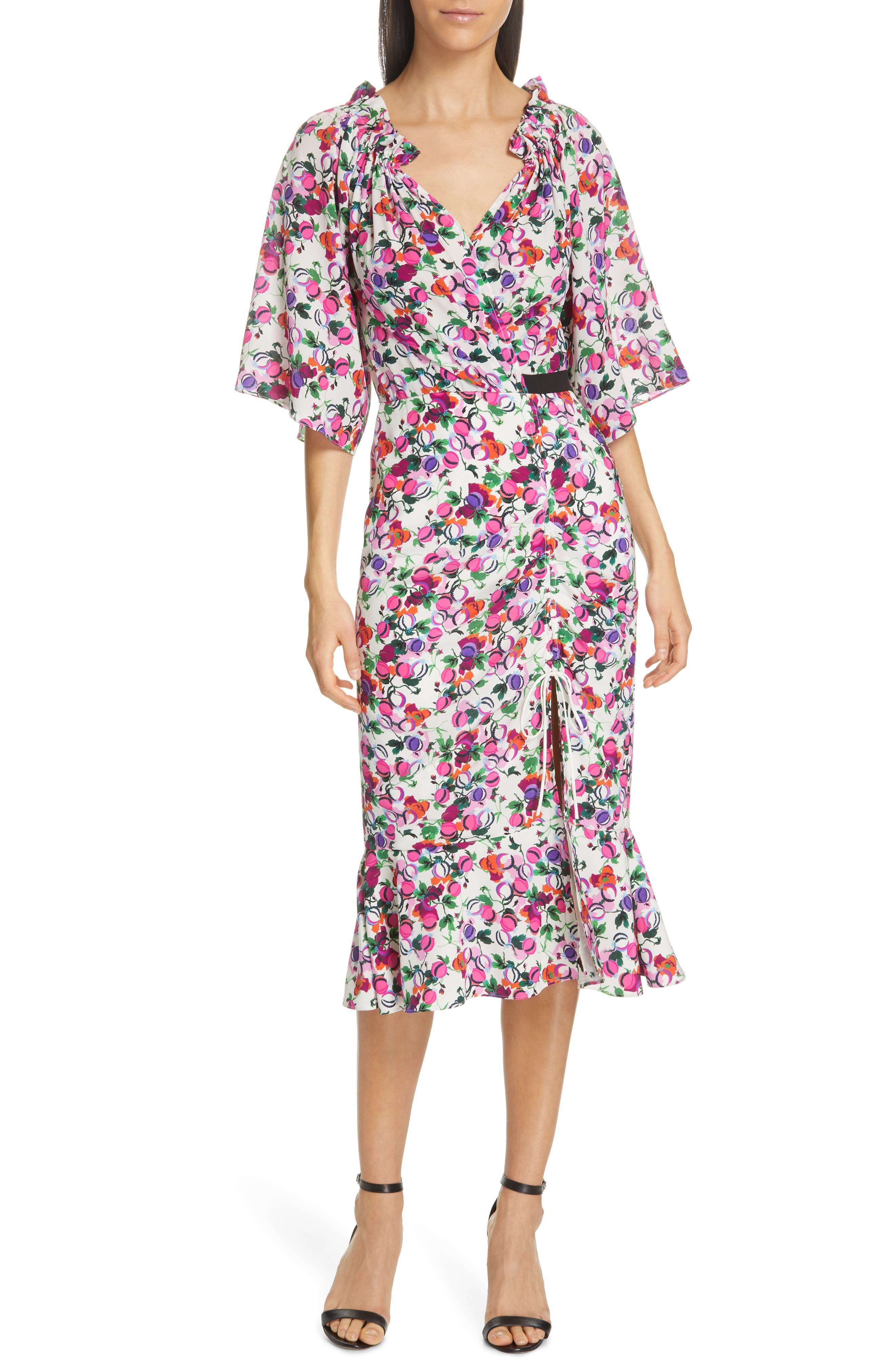 SALONI, Olivia Floral Print Off the Shoulder Midi Dress, Main thumbnail 1, color, ROSE BOUNTY BLACK