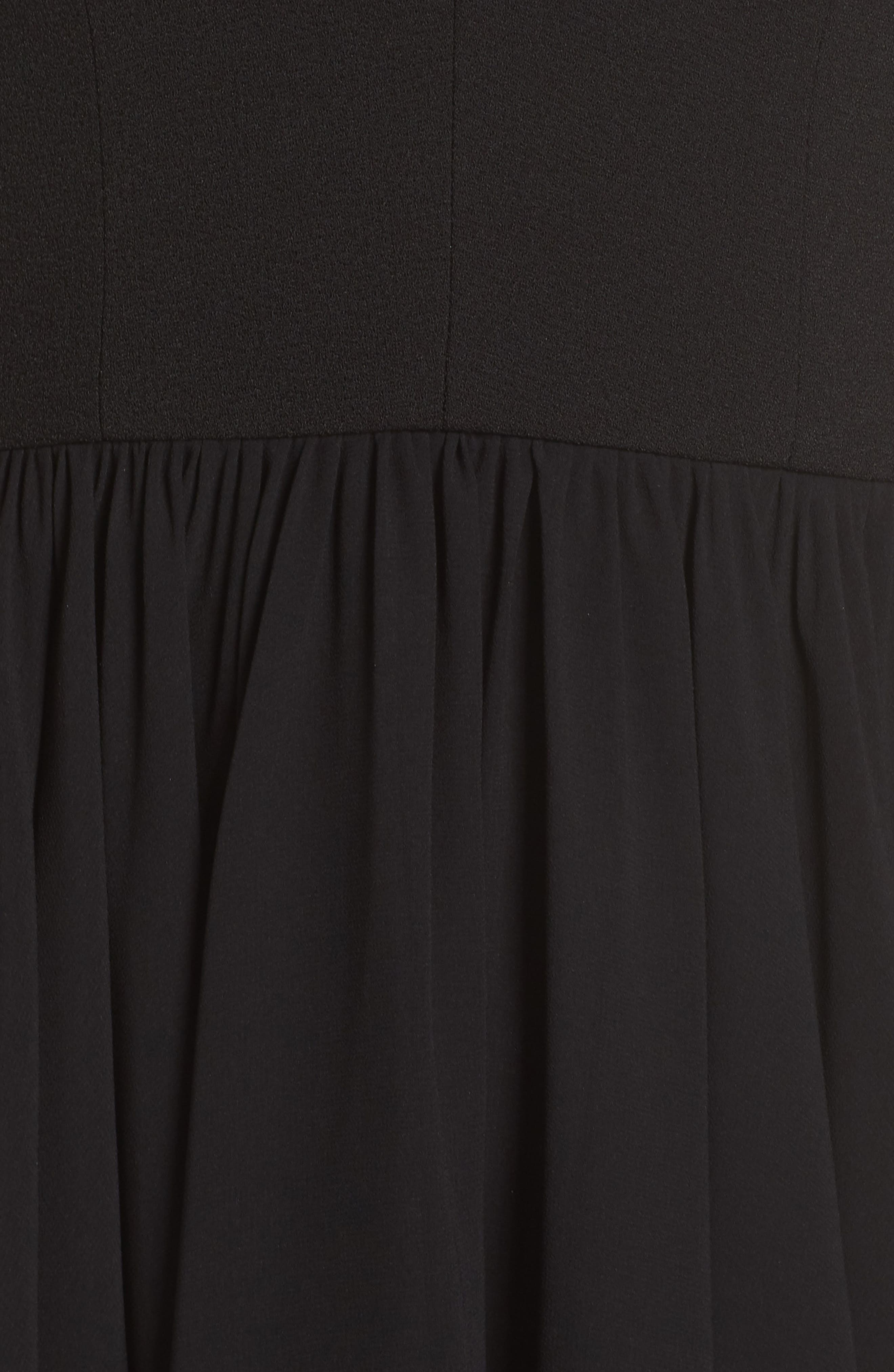DRESS THE POPULATION, Corey Chiffon Fit & Flare Dress, Alternate thumbnail 7, color, BLACK