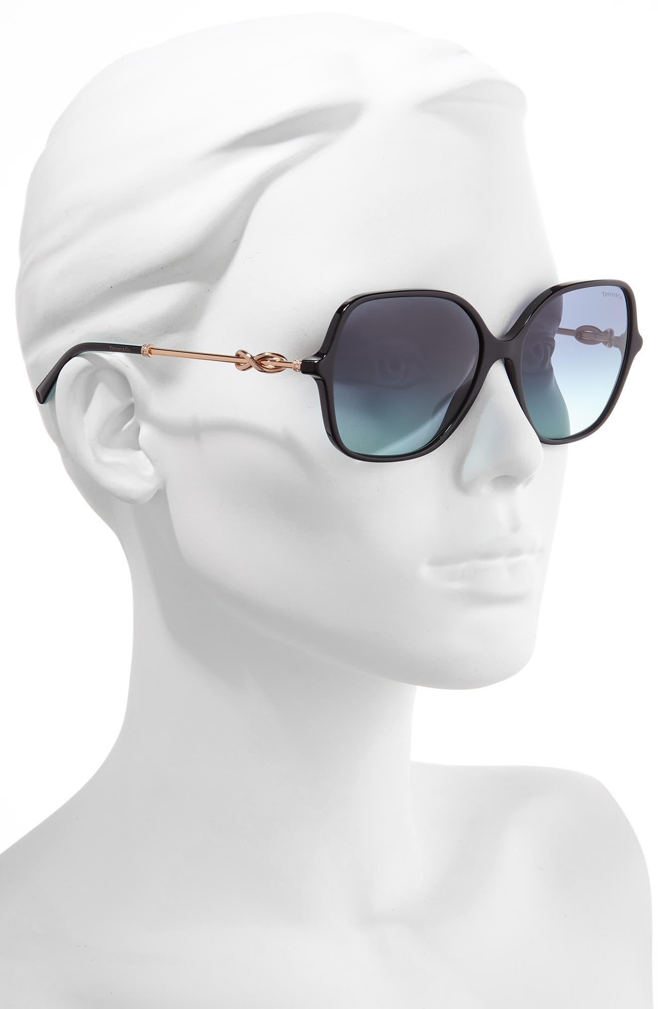 TIFFANY & CO., Tiffany 57mm Sunglasses, Alternate thumbnail 2, color, BLACK/ AZURE GRADIENT