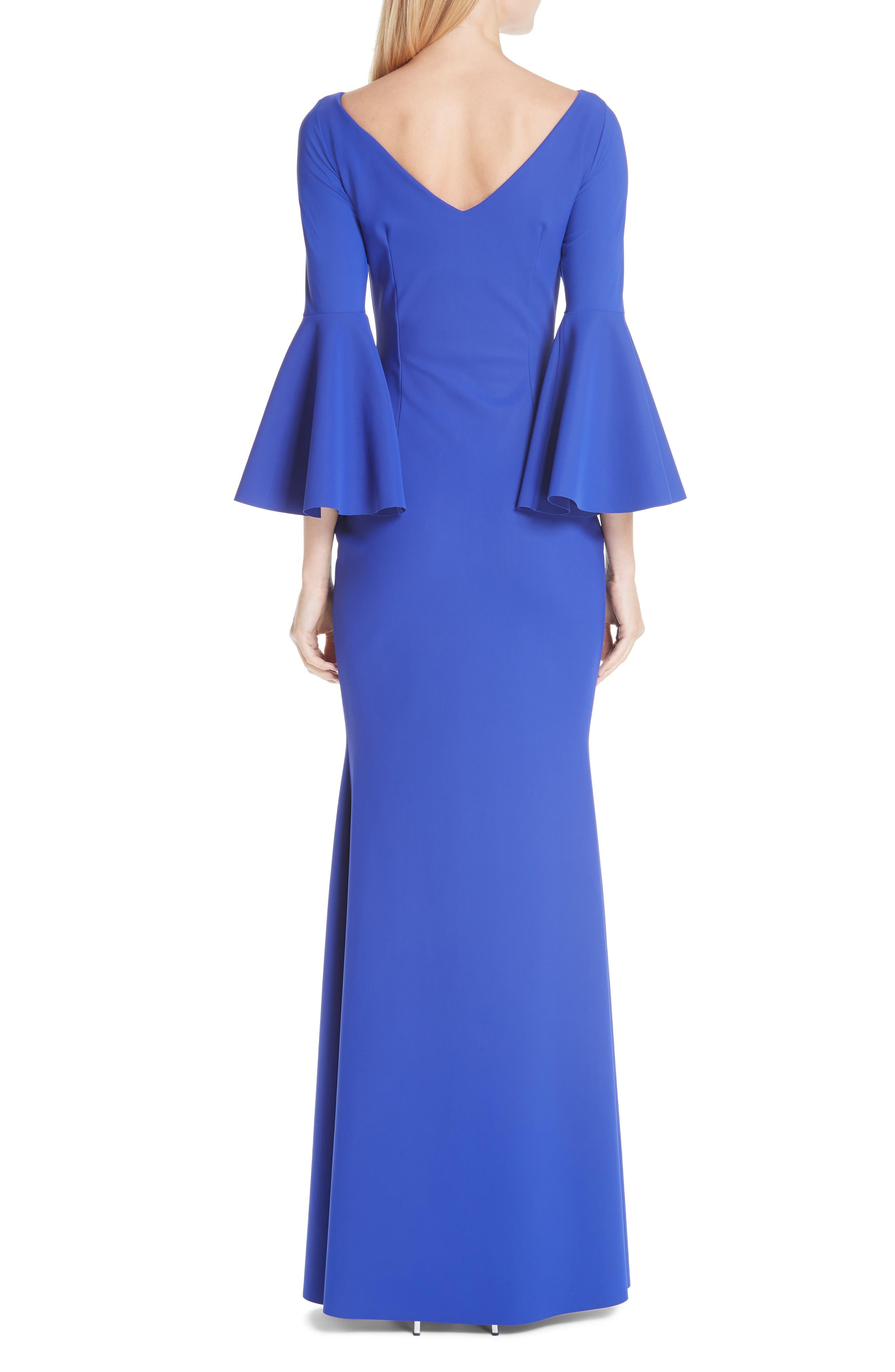 CHIARA BONI LA PETITE ROBE, Iva Bell Sleeve Evening Dress, Alternate thumbnail 2, color, INCHIOSTRO