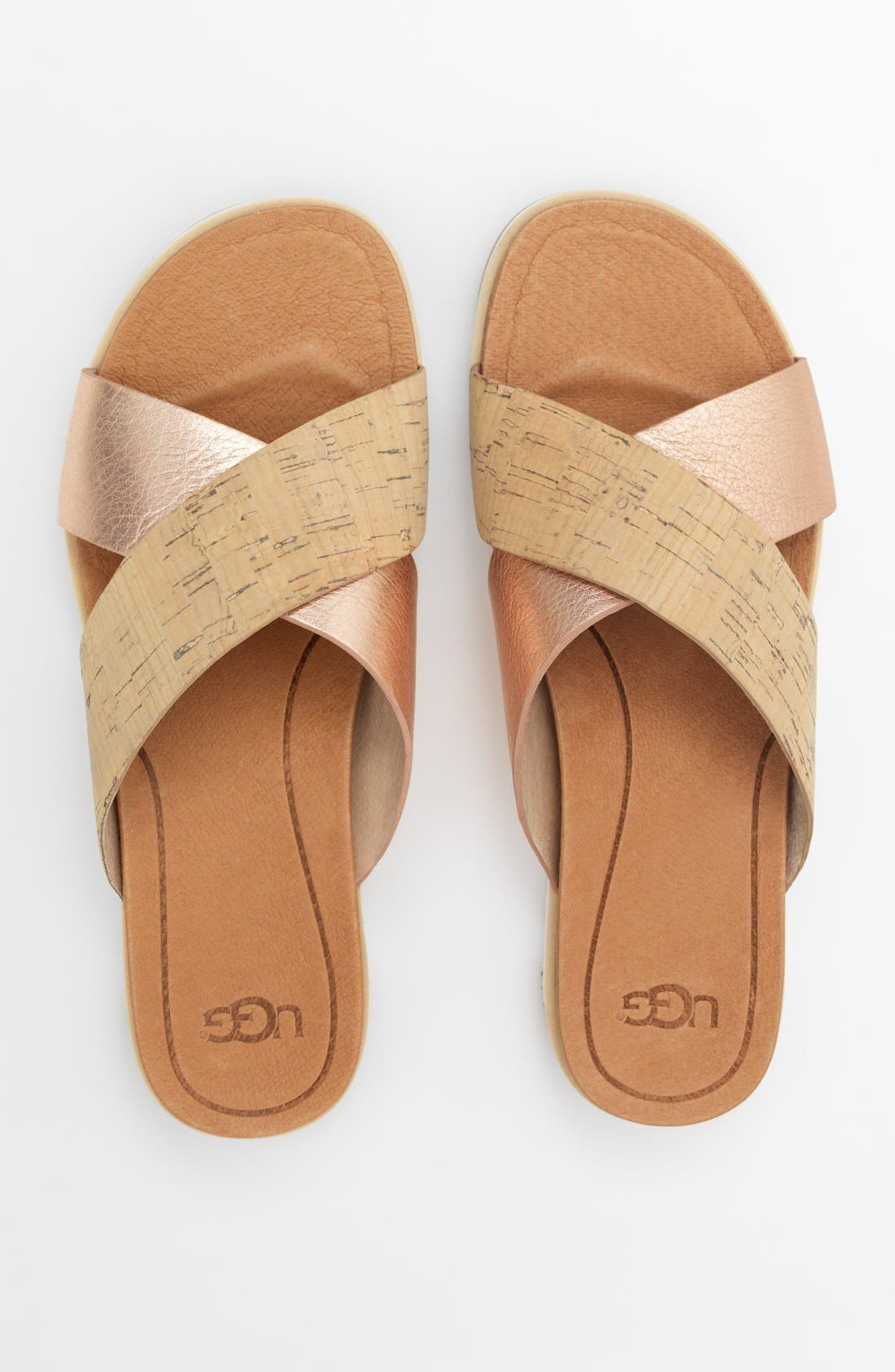 UGG<SUP>®</SUP>, 'Kari' Sandal, Alternate thumbnail 10, color, BLACK