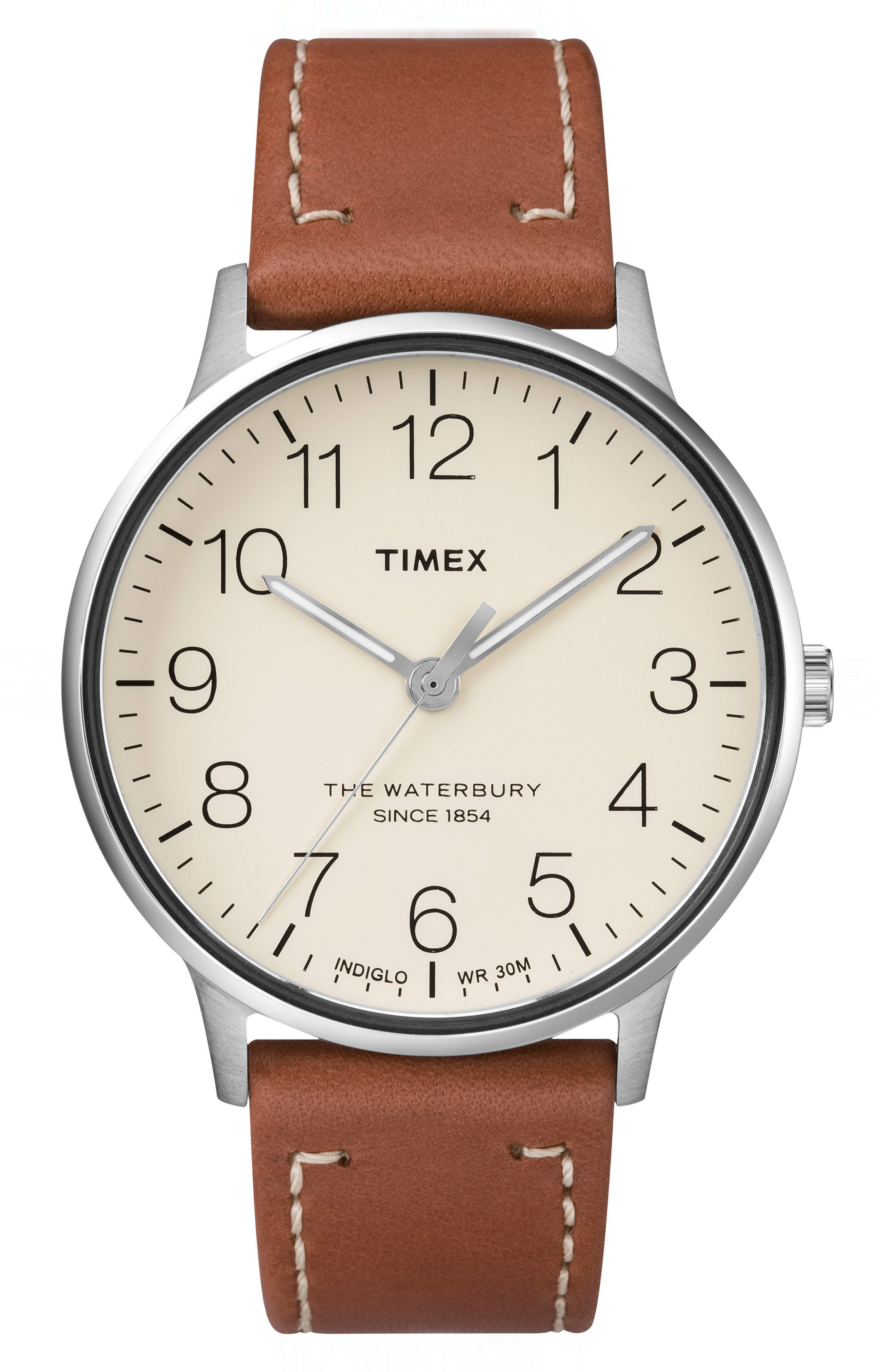 TIMEX<SUP>®</SUP>, Waterbury Classic Leather Strap Watch, 40mm, Main thumbnail 1, color, BROWN/ CREAM/ SILVER