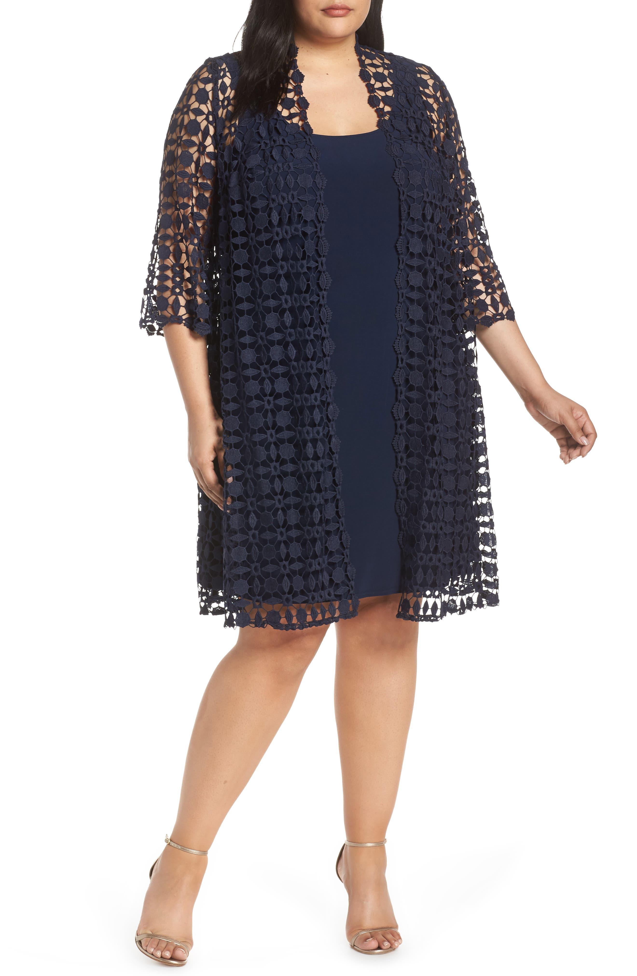 Plus Size Alex Evening Shift Dress With Lace Jacket, Blue