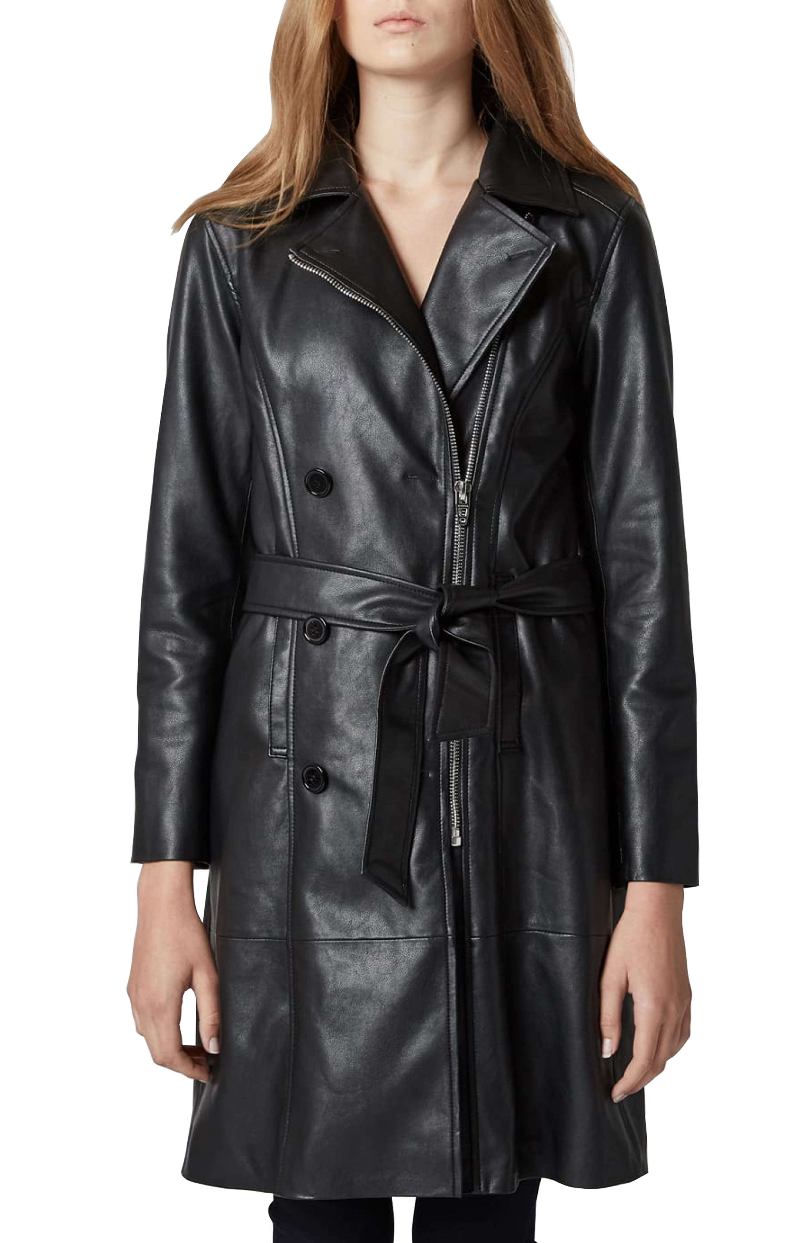 BLANKNYC, Faux Leather Trench Coat, Main thumbnail 1, color, PUNISHER