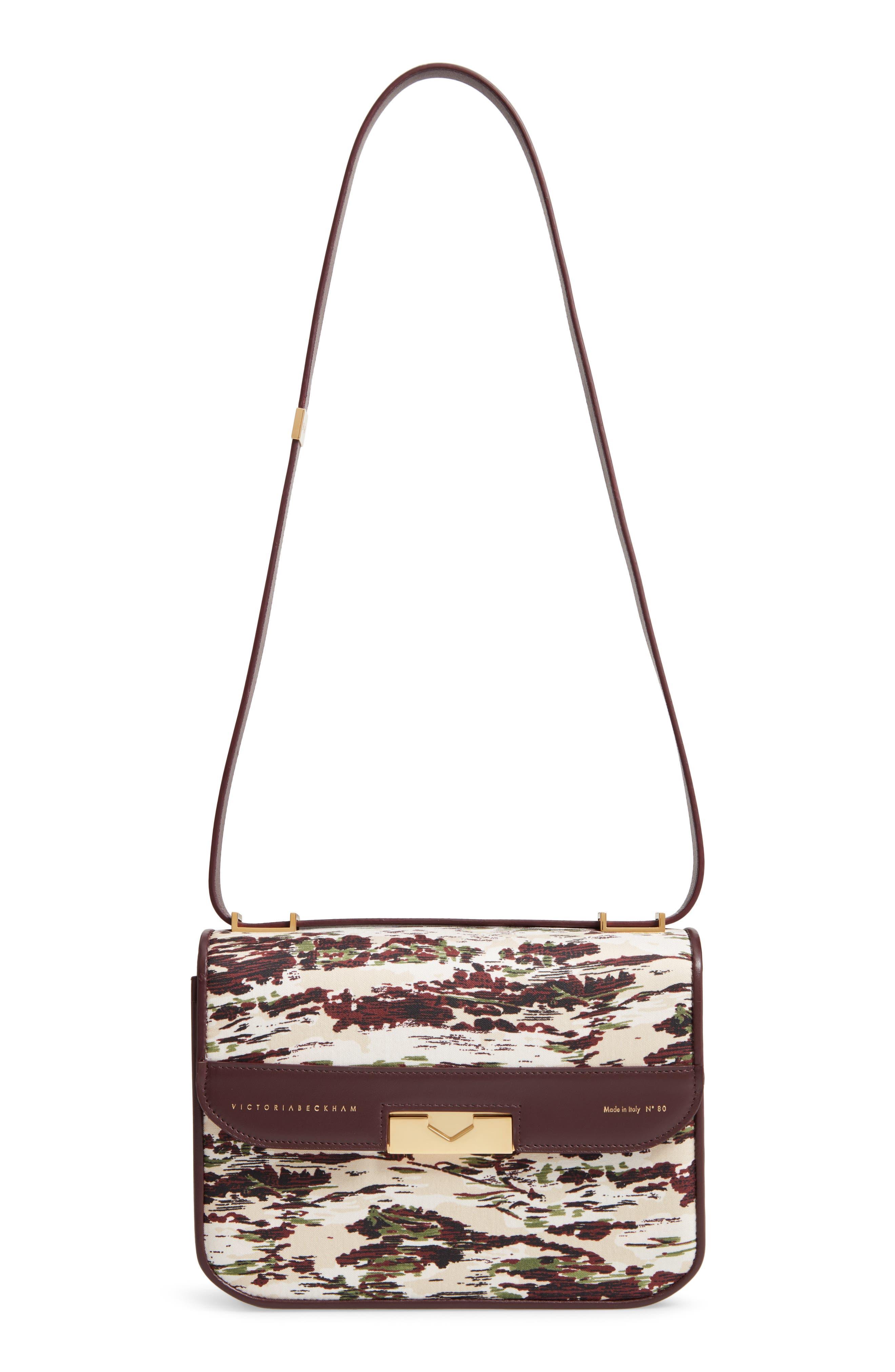 VICTORIA BECKHAM, Eva Satin & Leather Shoulder Bag, Main thumbnail 1, color, BOUDEAUX/ GREEN