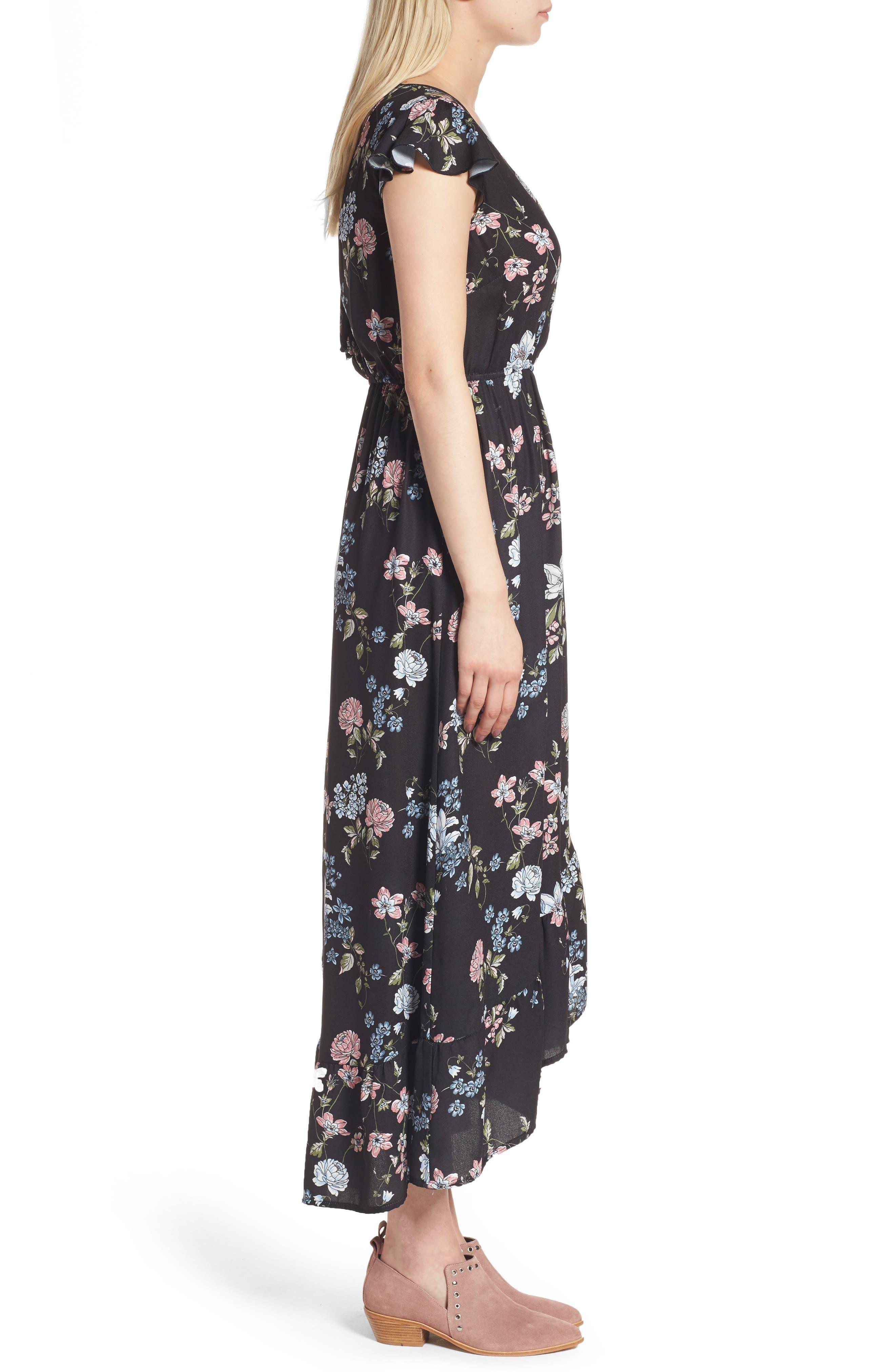 BAND OF GYPSIES, Faux Wrap Maxi Dress, Alternate thumbnail 3, color, 004
