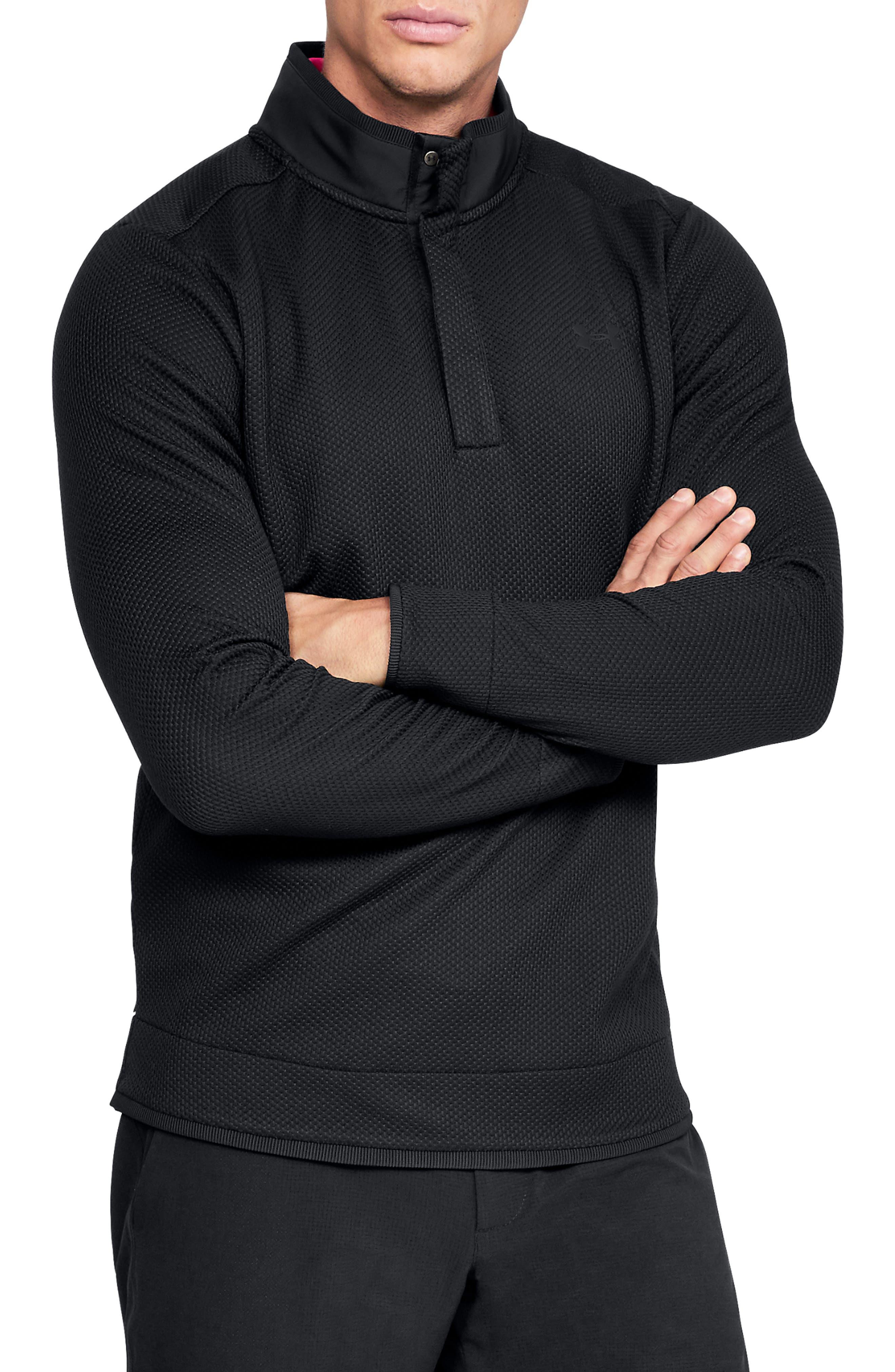 UNDER ARMOUR, Storm SweaterFleece Snap Mock Neck Pullover, Main thumbnail 1, color, BLACK/ BLACK/ BLACK