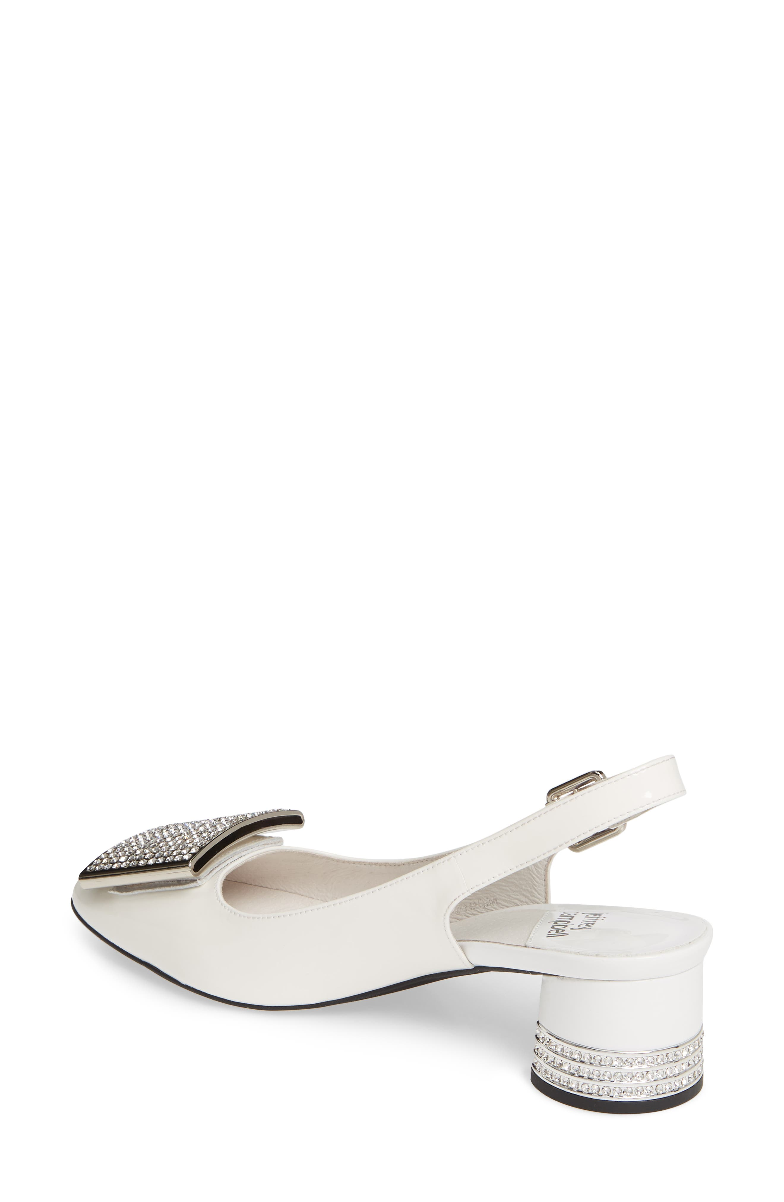JEFFREY CAMPBELL, Billion Jewel Slingback Pump, Alternate thumbnail 2, color, WHITE PATENT LEATHER/ SILVER