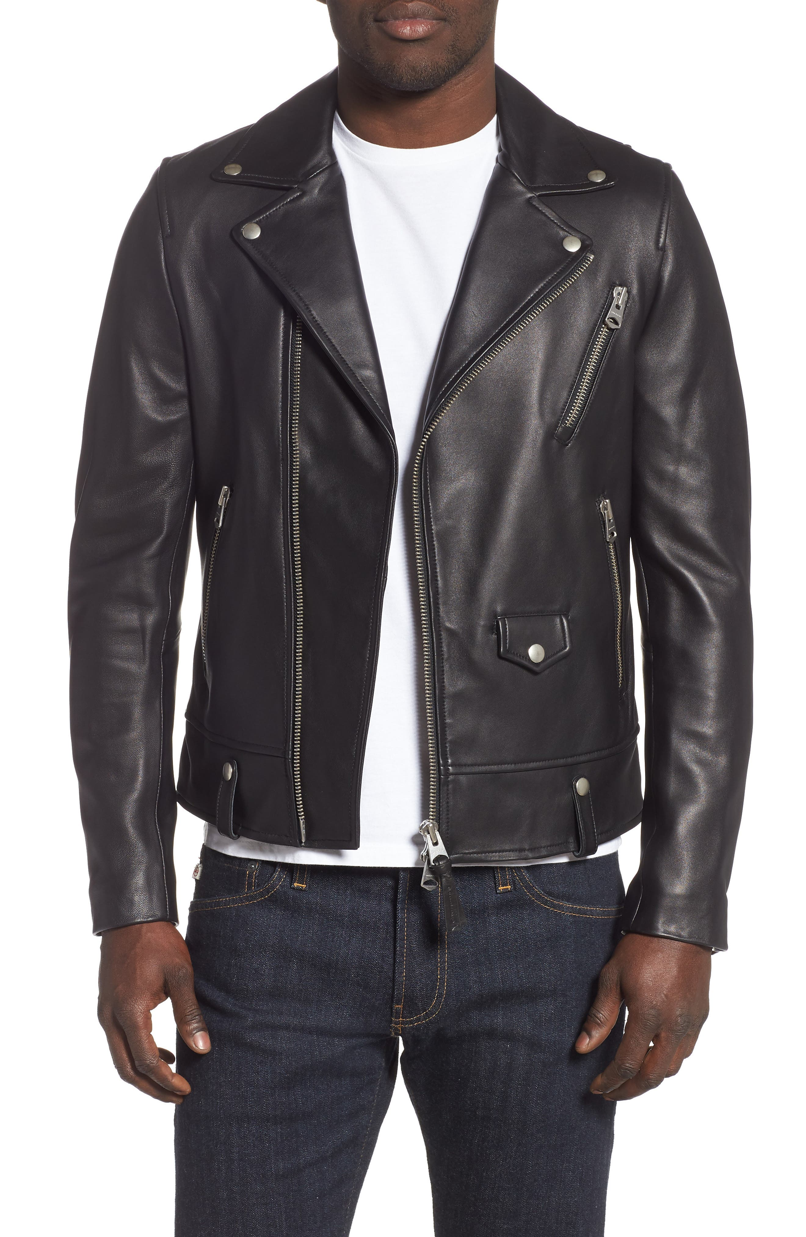 MACKAGE, Fenton Leather Moto Jacket, Main thumbnail 1, color, BLACK