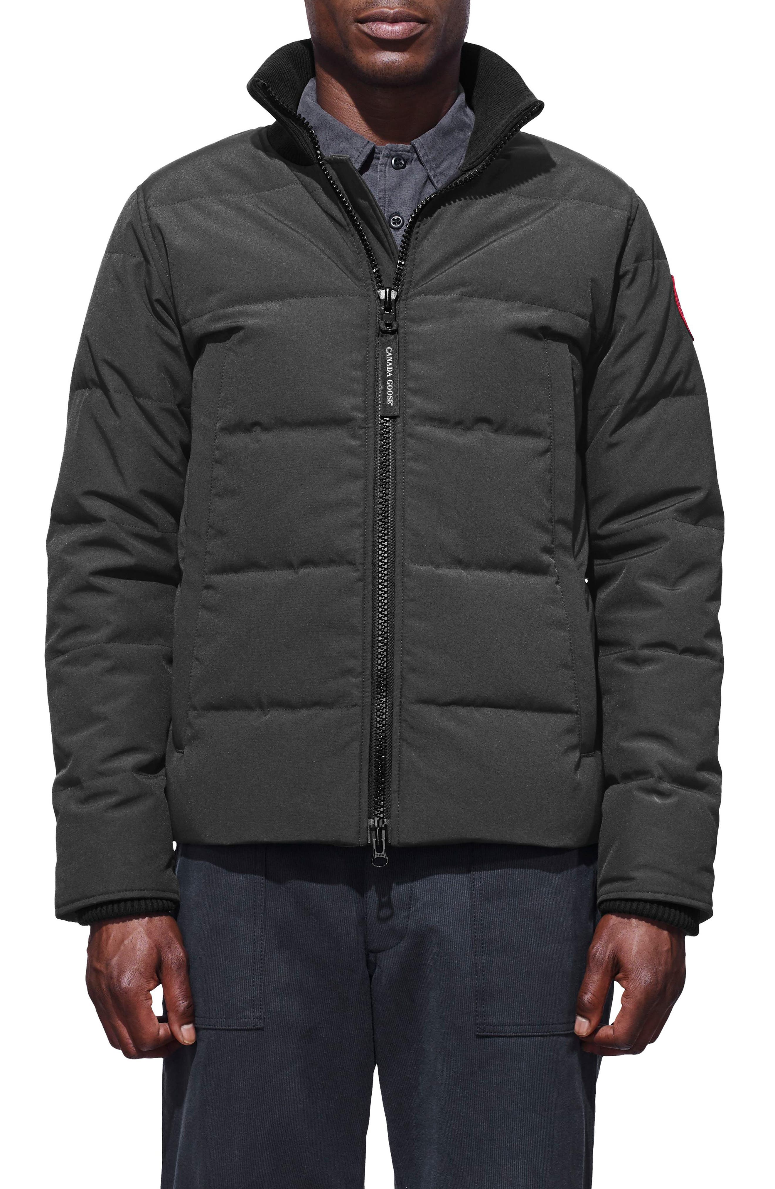 CANADA GOOSE, 'Woolford' Slim Fit Down Bomber Jacket, Main thumbnail 1, color, GRAPHITE