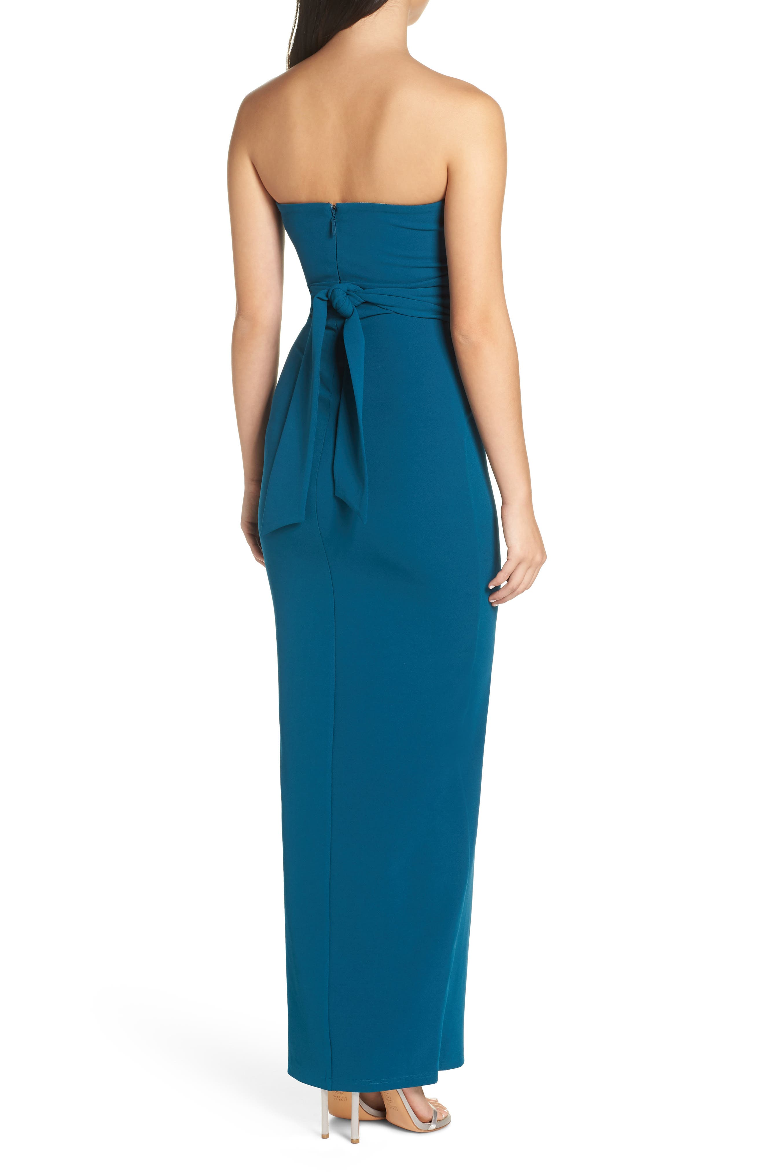 LULUS, Own the Night Strapless Maxi Dress, Alternate thumbnail 2, color, TURQUOISE