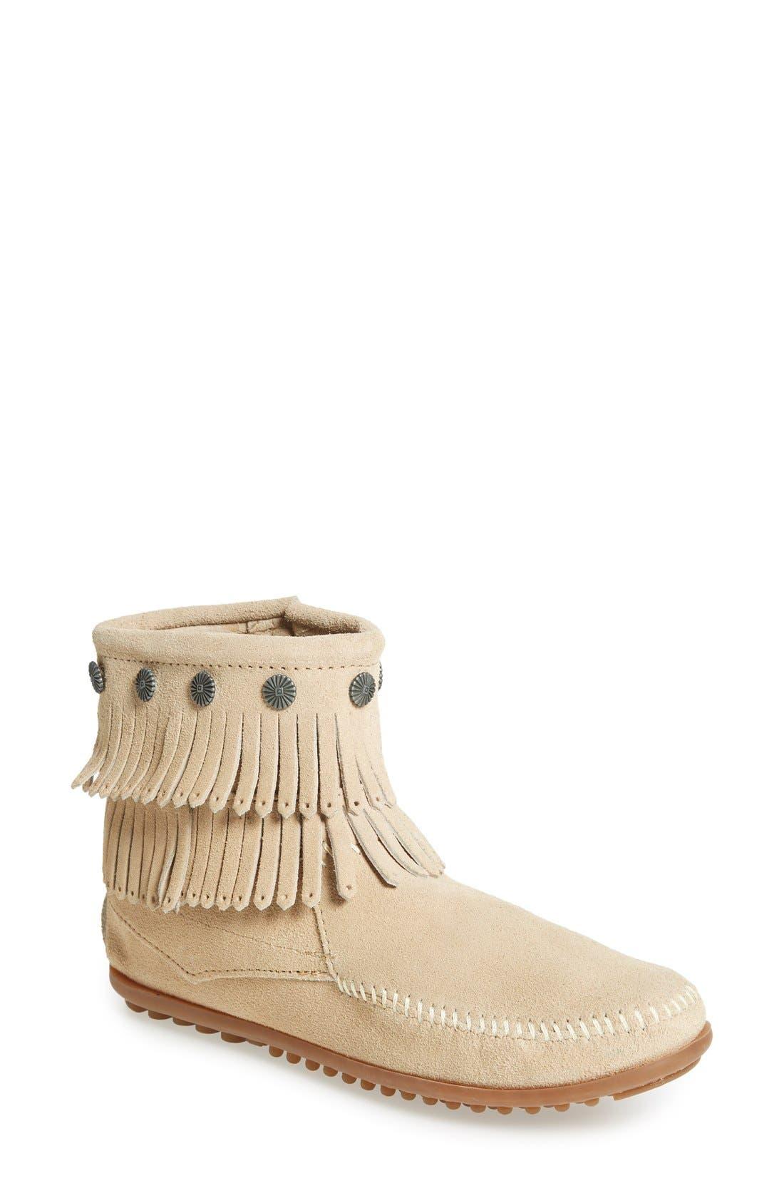 MINNETONKA Double Fringe Boot, Main, color, STONE SUEDE