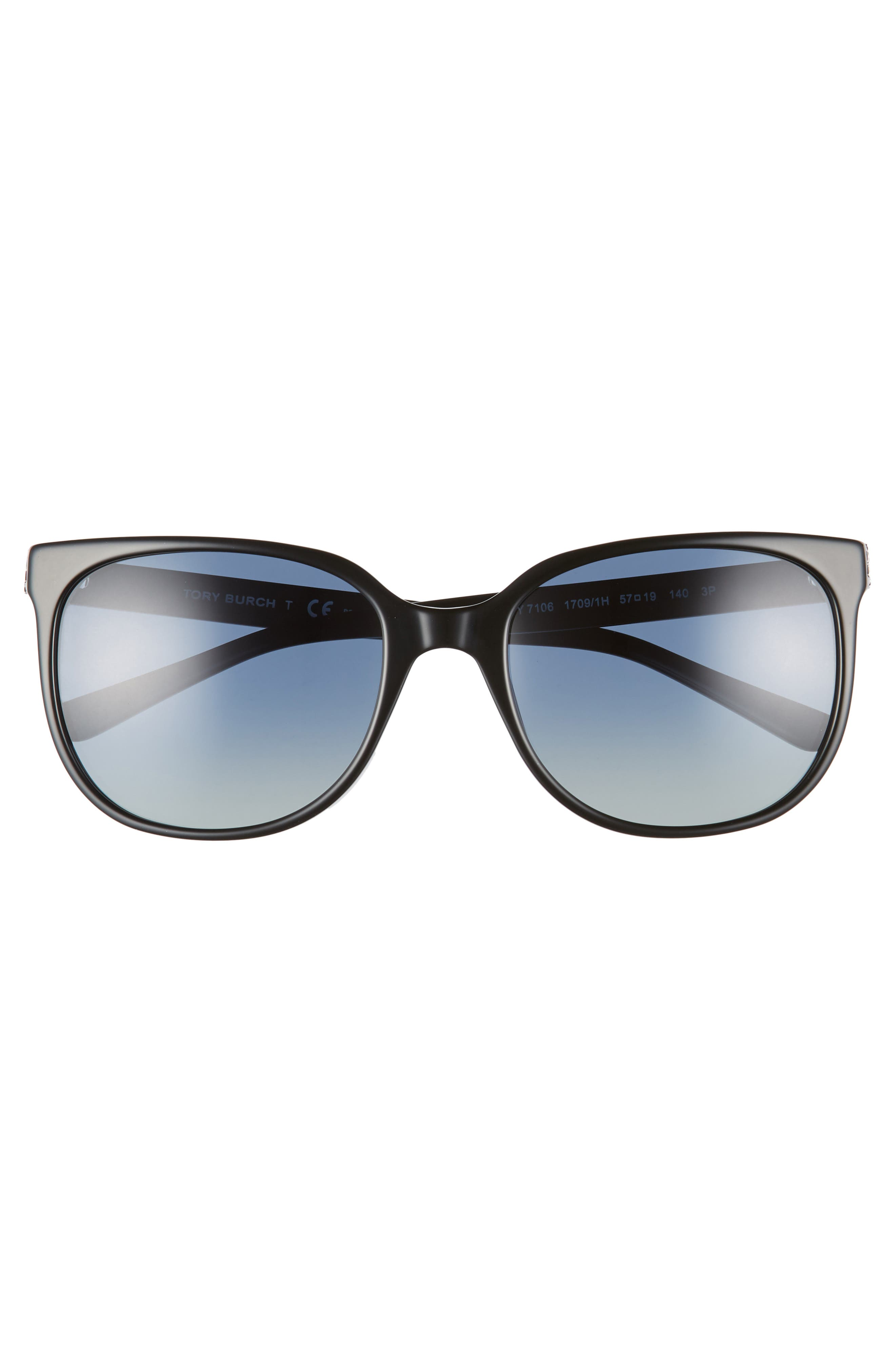 TORY BURCH, Revo 57mm Polarized Square Sunglasses, Alternate thumbnail 3, color, 001