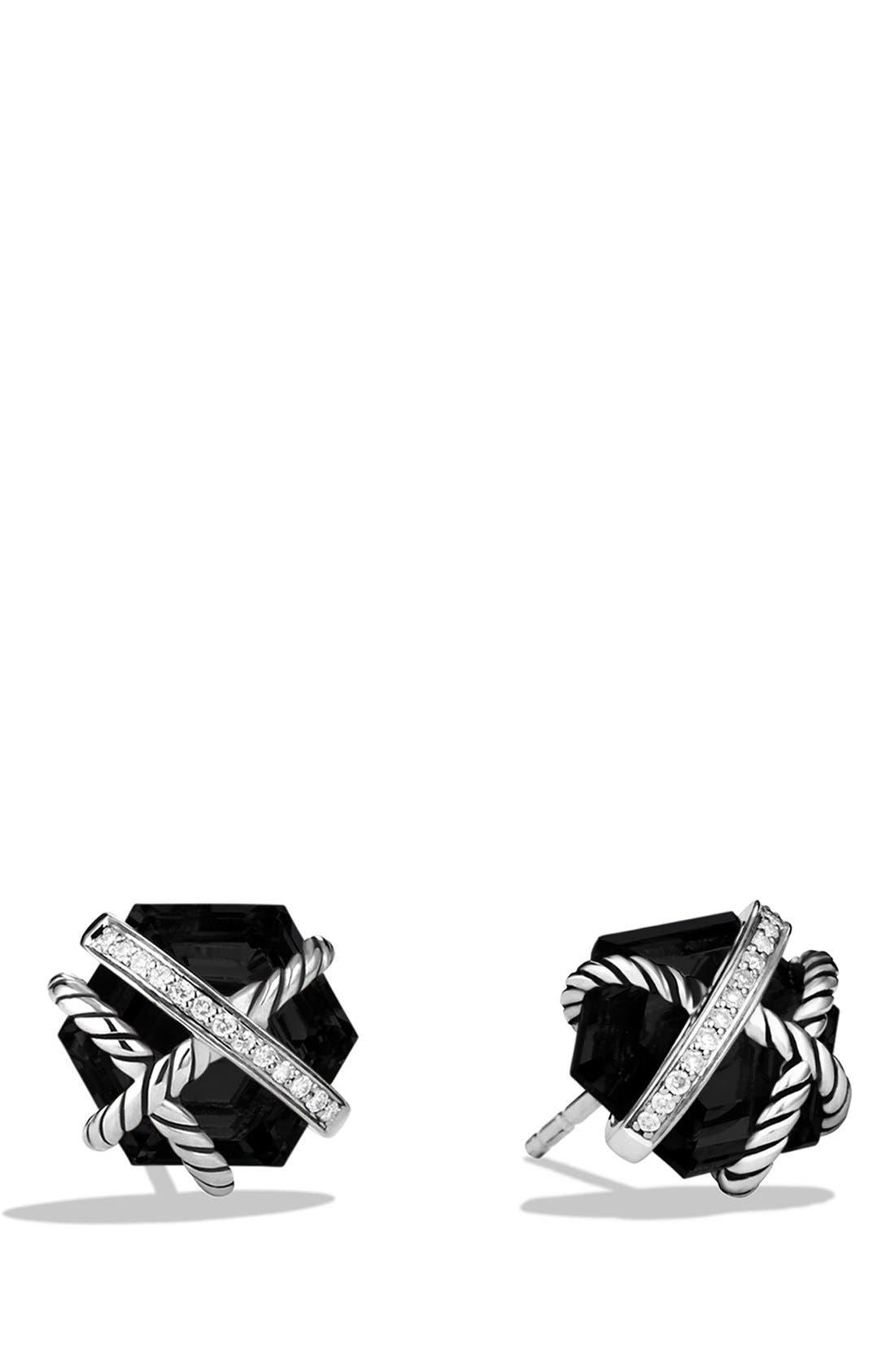 DAVID YURMAN, 'Cable Wrap' Earrings with Semiprecious Stones & Diamonds, Main thumbnail 1, color, BLACK ONYX