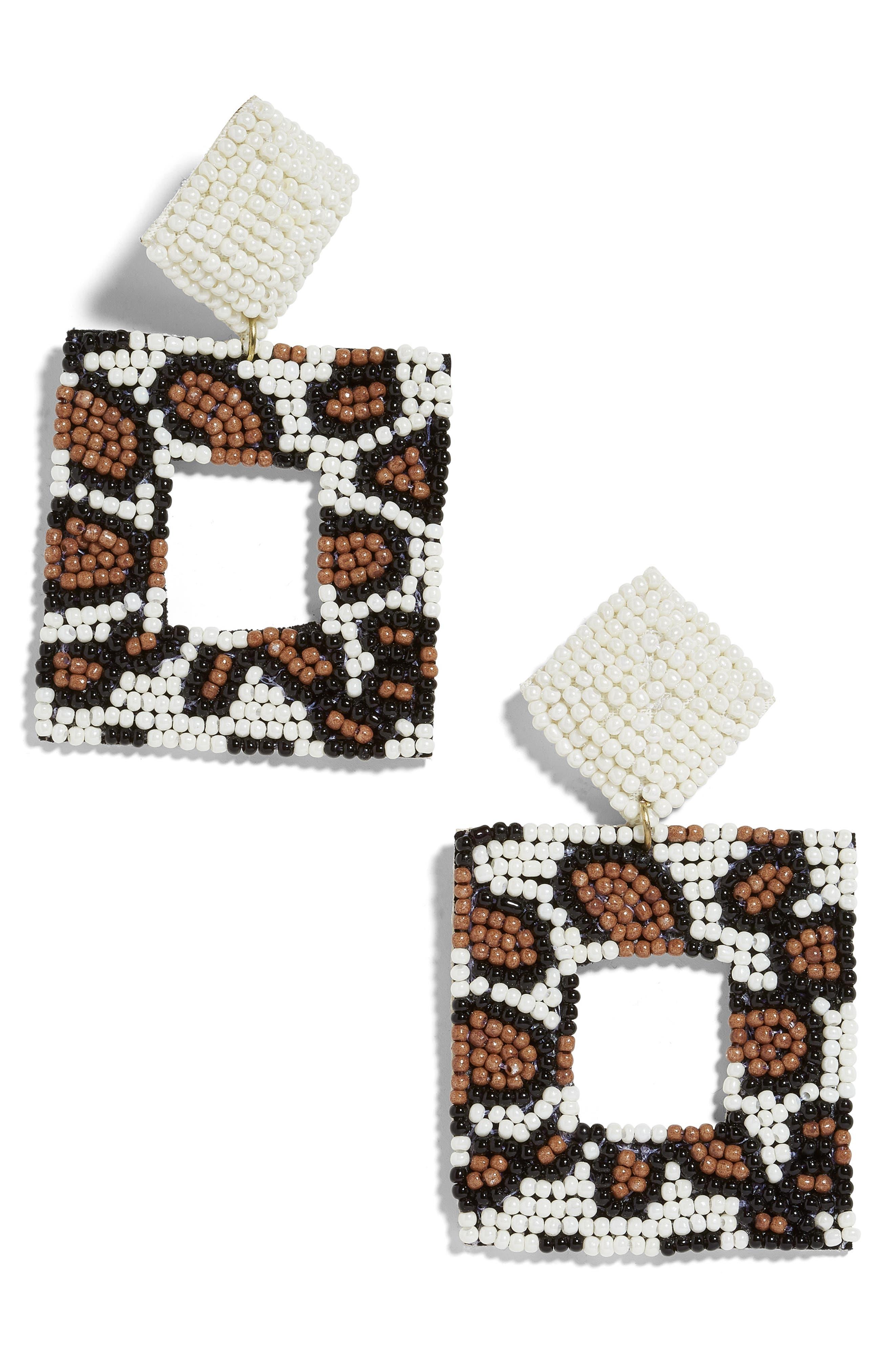 BAUBLEBAR, Olivina Beaded Drop Earrings, Main thumbnail 1, color, BROWN LEOPARD