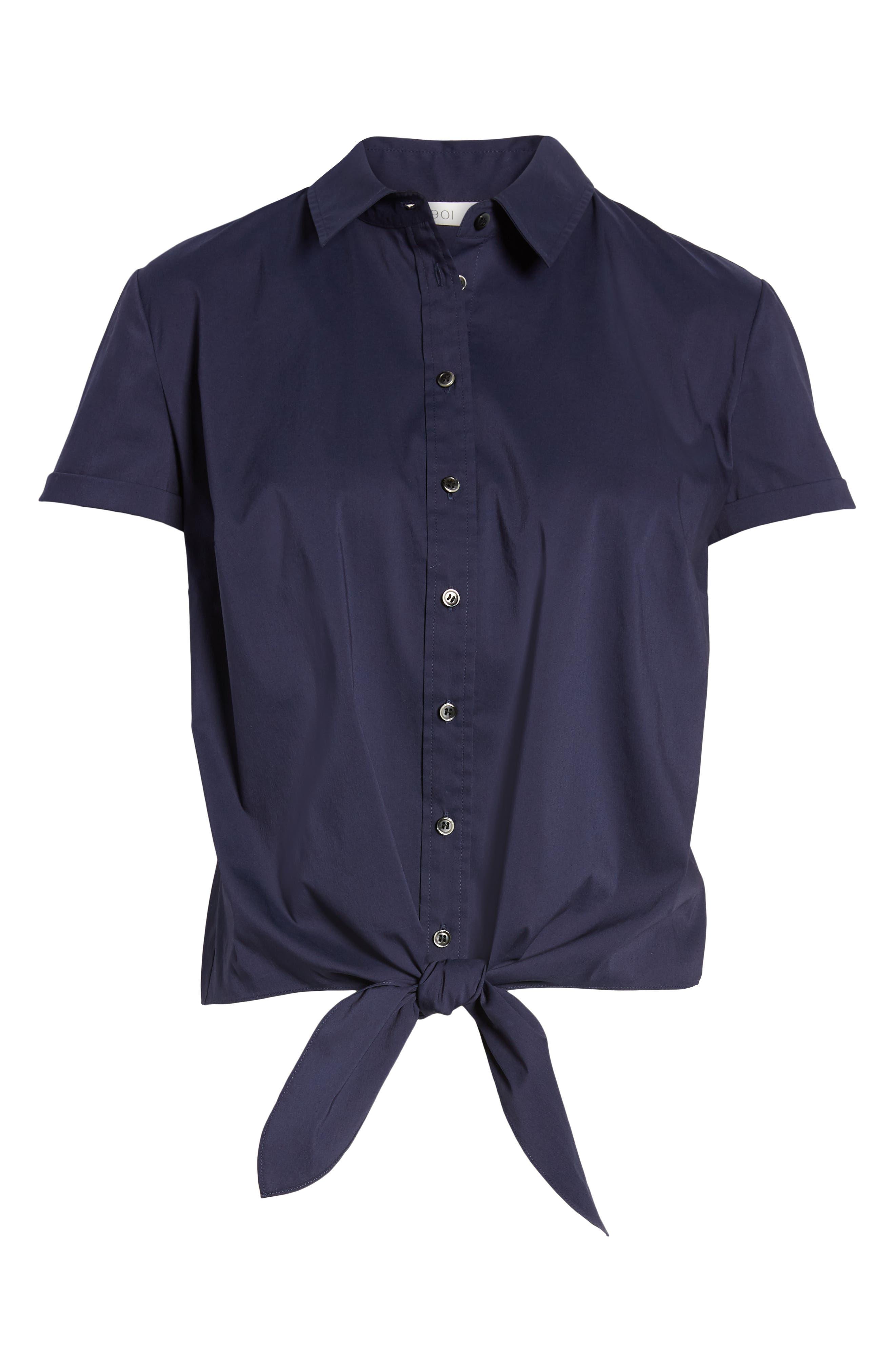 1901, Tie Front Poplin Shirt, Alternate thumbnail 7, color, NAVY PEACOAT